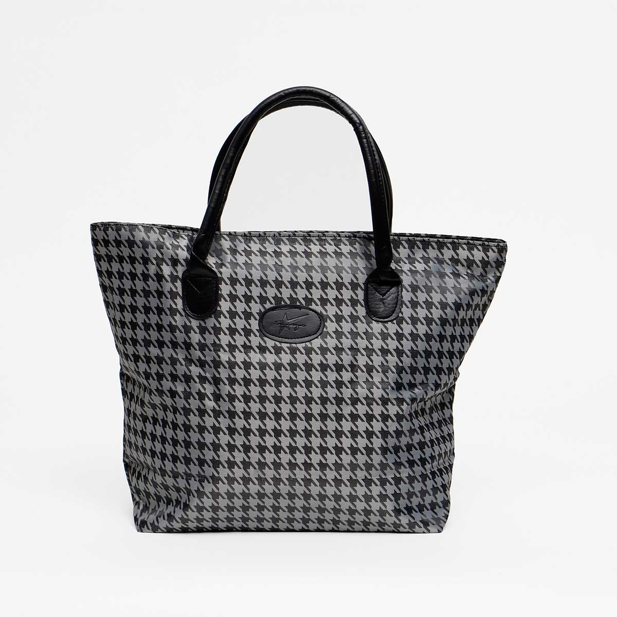 GRAY/BLACK HOUNDSTOOTH TRAVEL SIGNATURE TOTE WITH LOGO