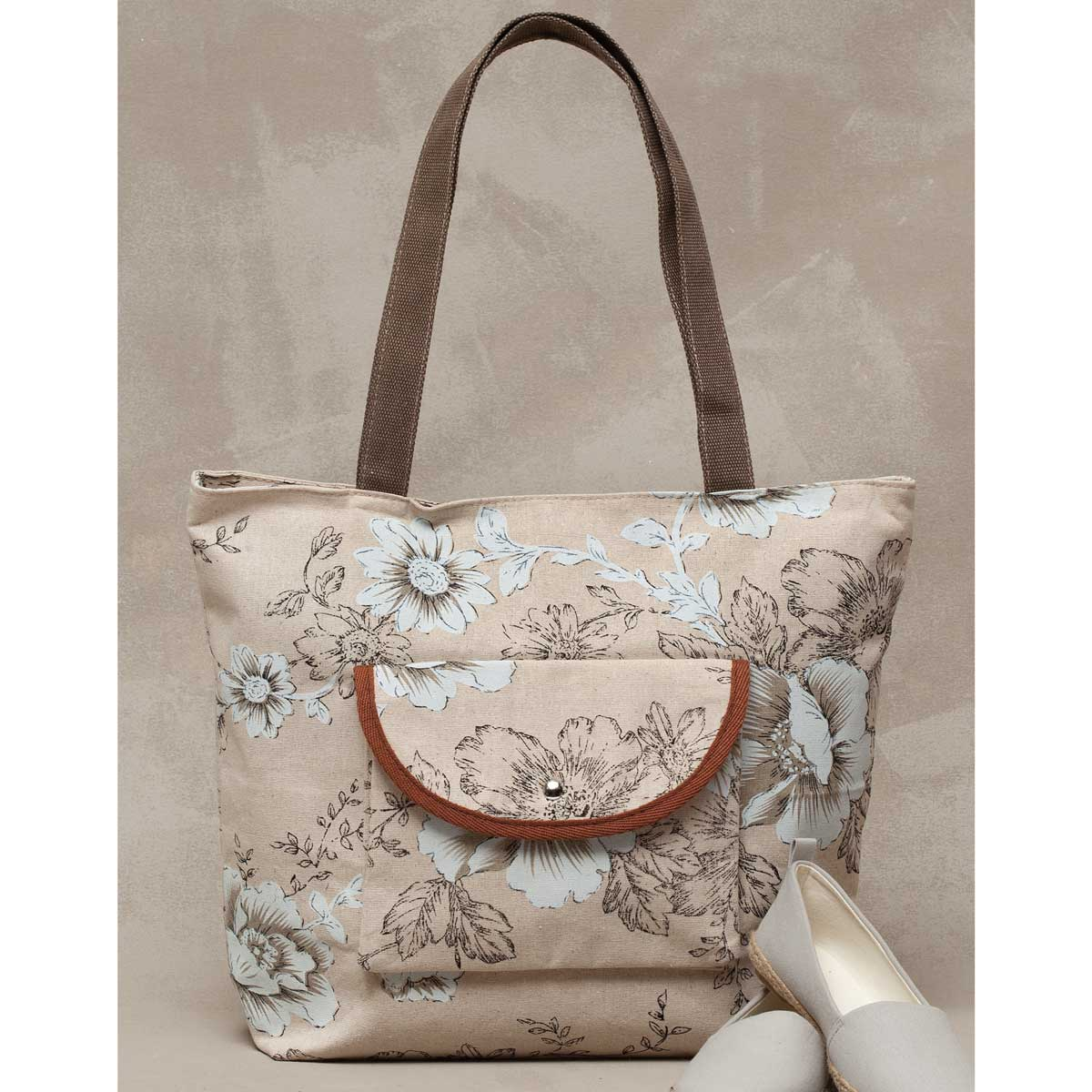 VINTAGE FLORAL TOTE WITH POCKET WITH HANDLE