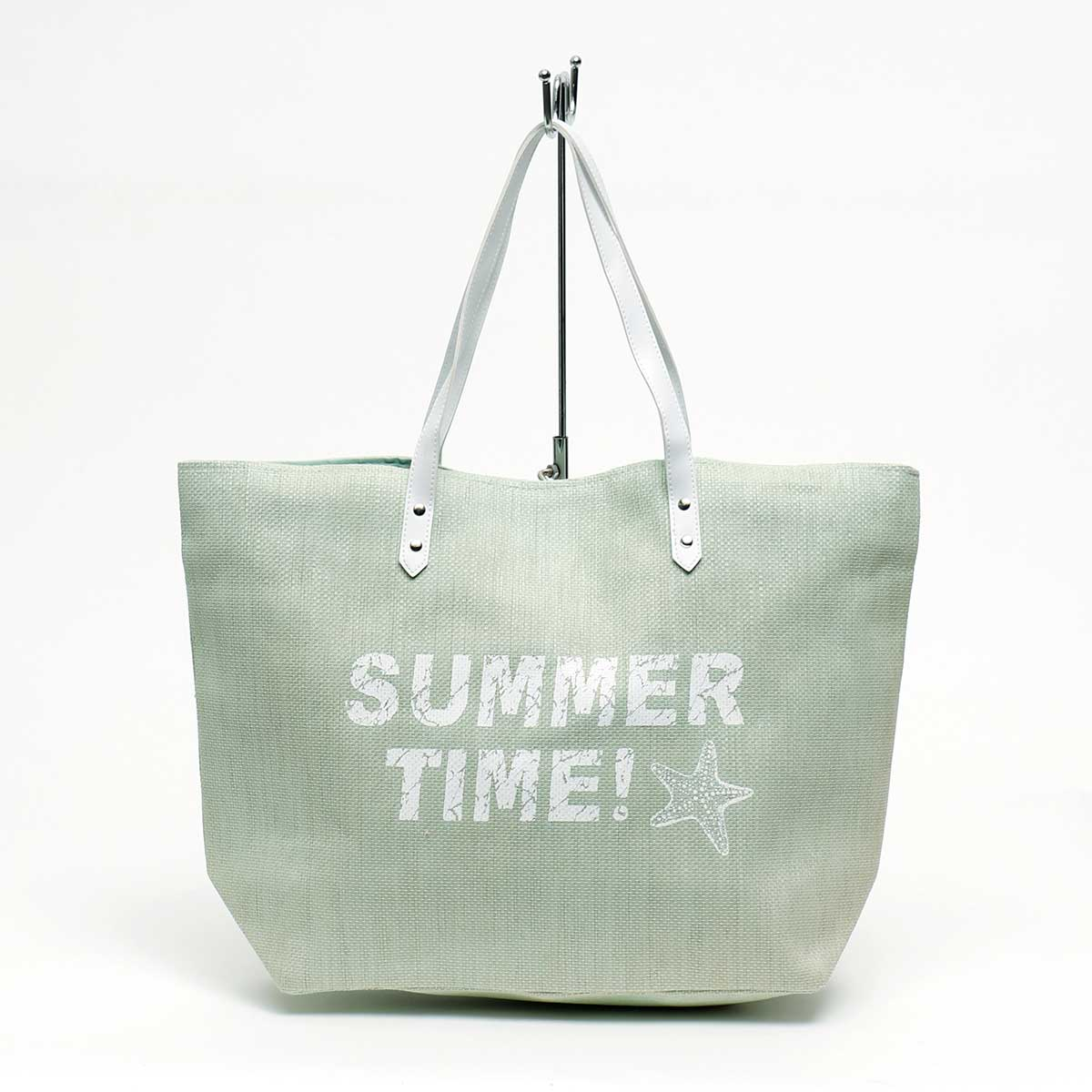 "Mint Canvas ""Summer Time!"" Tote 21""x6""x16"" with 10"" Handle"