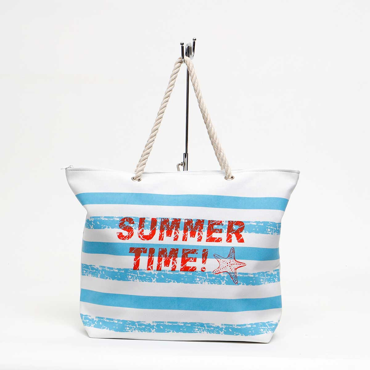 BLUE SUMMER TIME TOTE WITH ROPE HANDLE