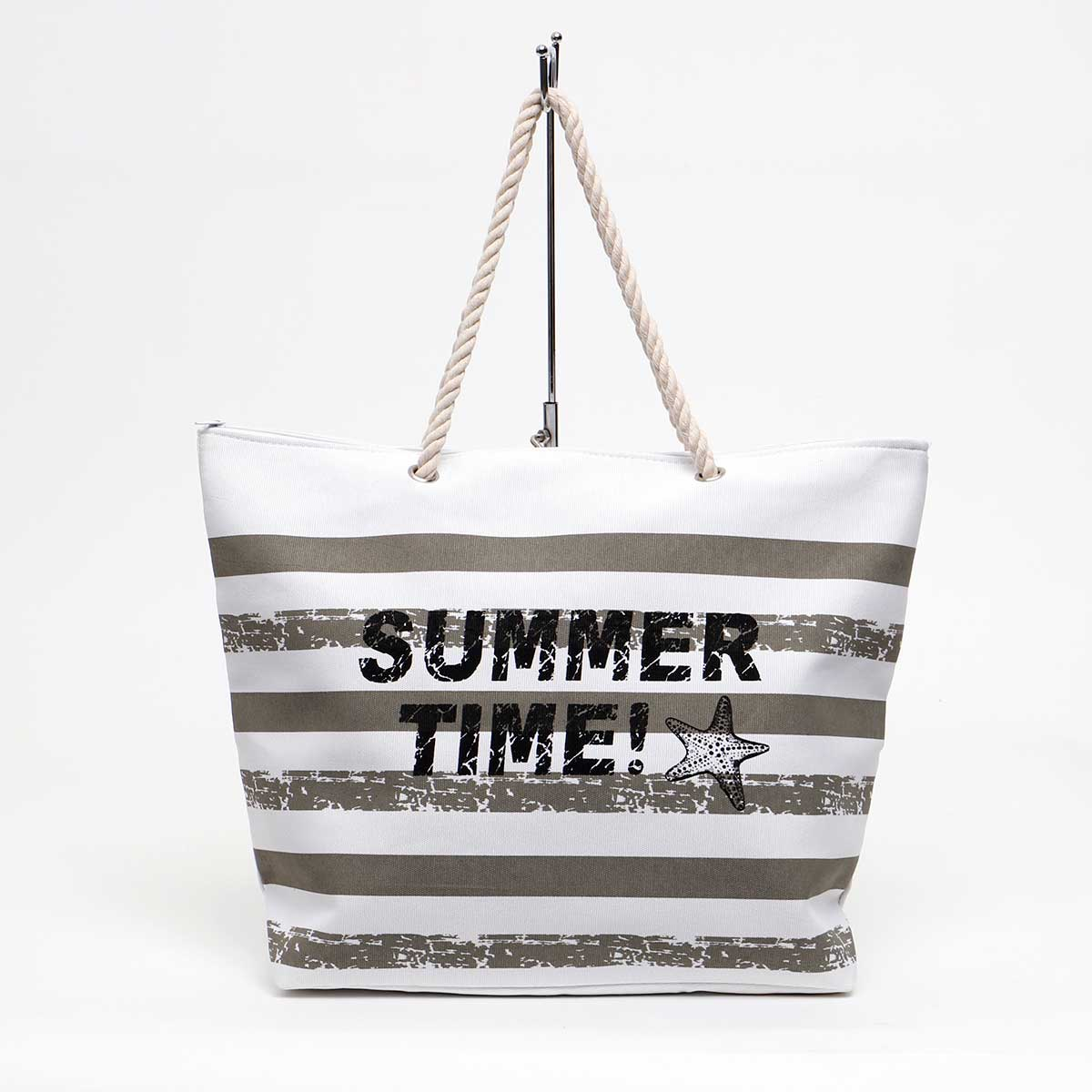 GRAY SUMMER TIME TOTE WITH ROPE HANDLE