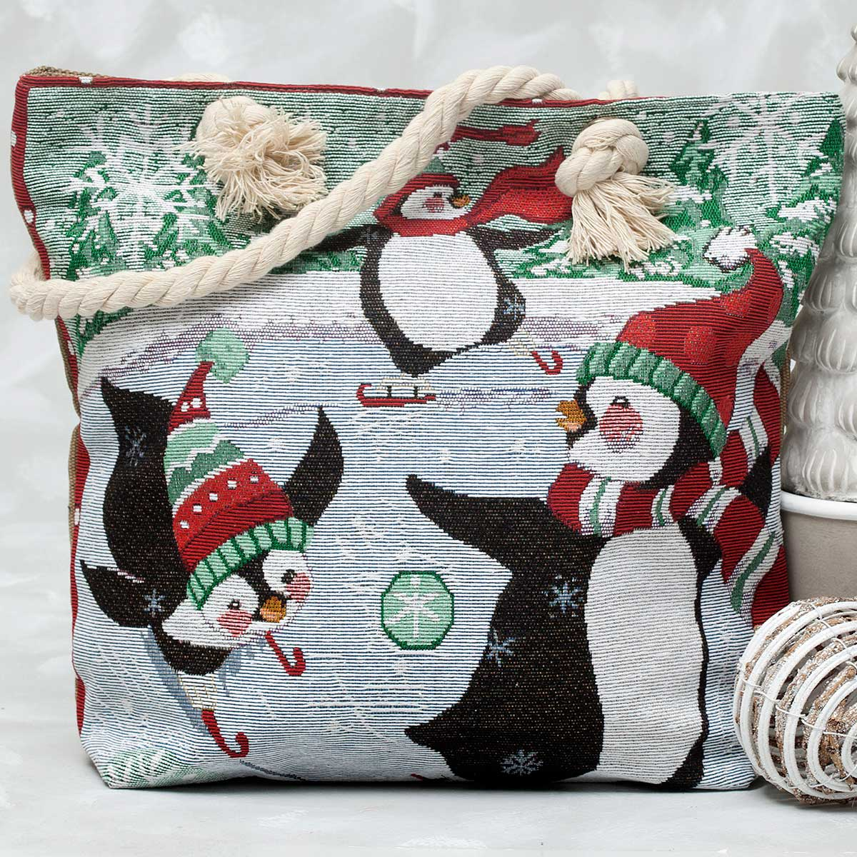 "Penguins Snowy Fun Tapestry Bag 17.5""x5""x14"""