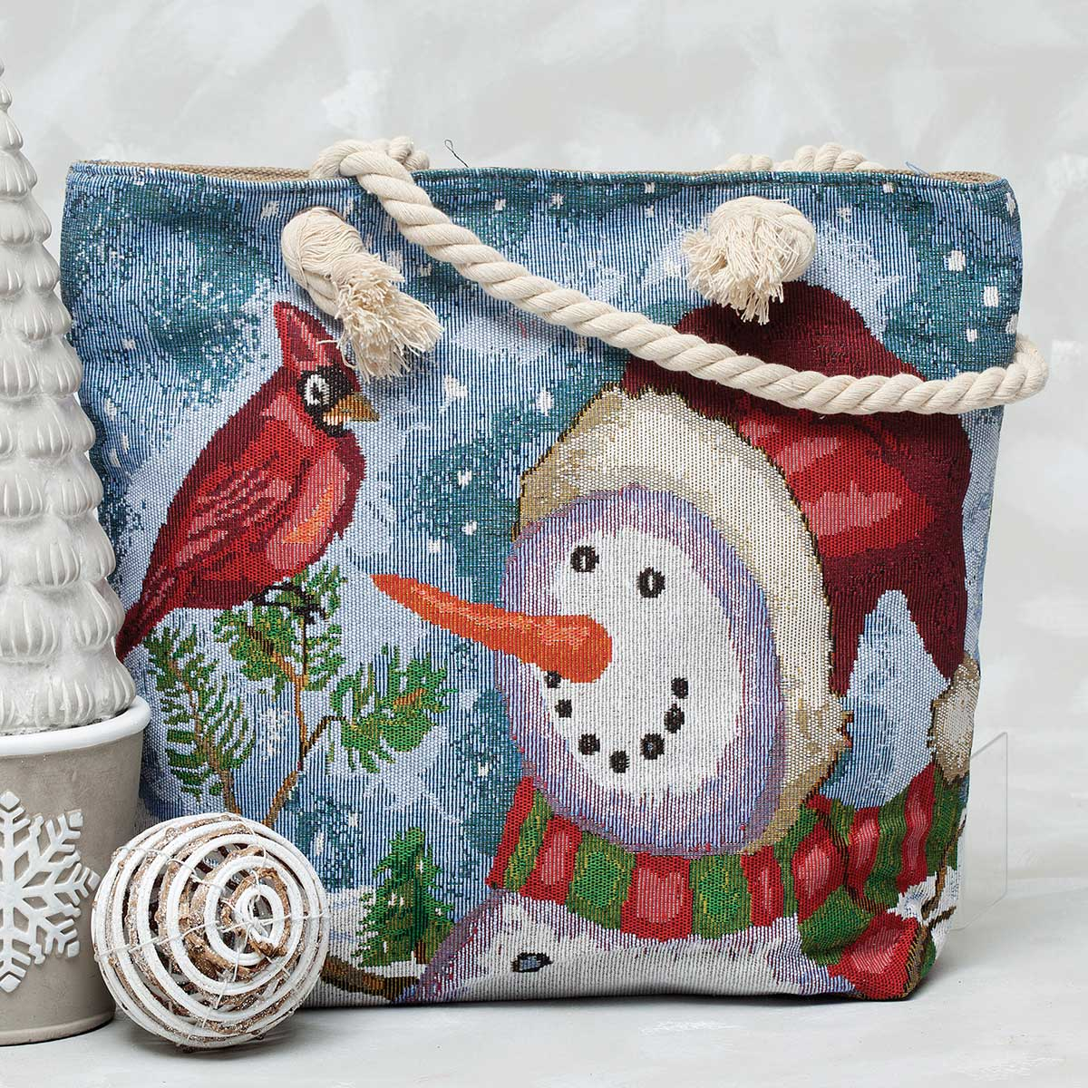 "Snowman with Cardinal Tapestry Bag 17.5""x5""x14"""
