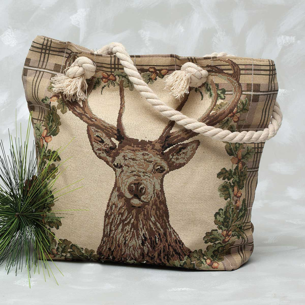 "Deer Head with Plaid Trim Tapestry Bag 17.5""x5""x14"""