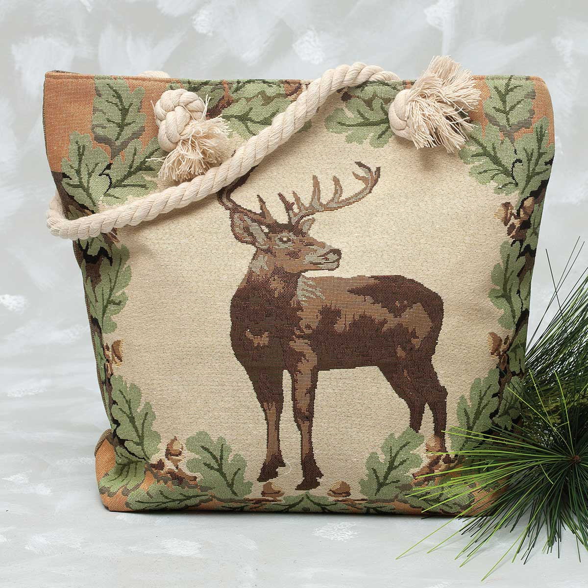Deer with Leaves Tapestry Bag