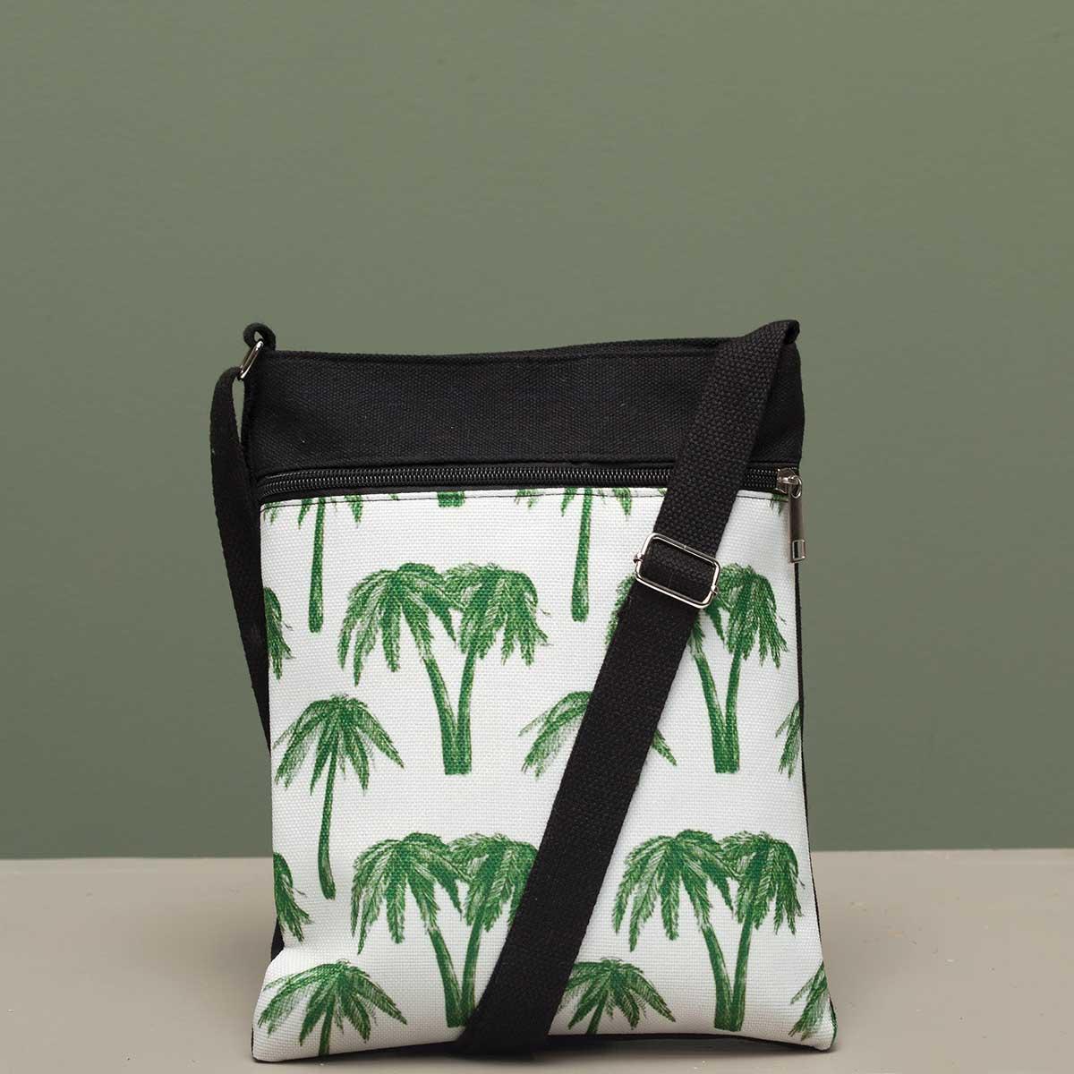 Palm Tree Crossbody Canvas Bag