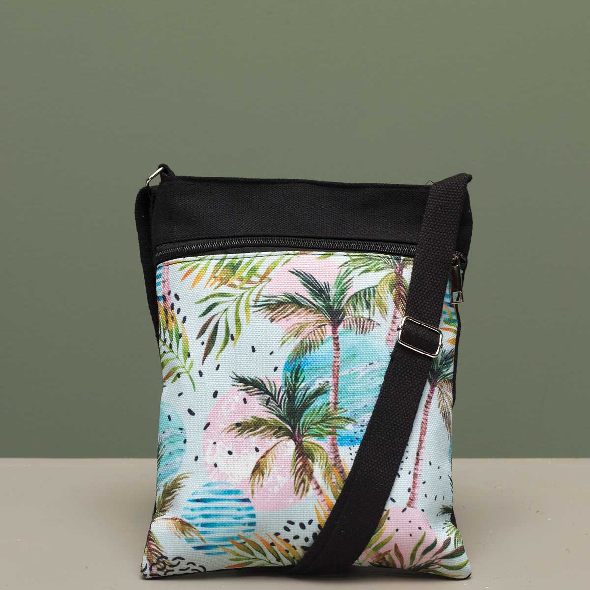 Beach Scene Crossbody Canvas Bag