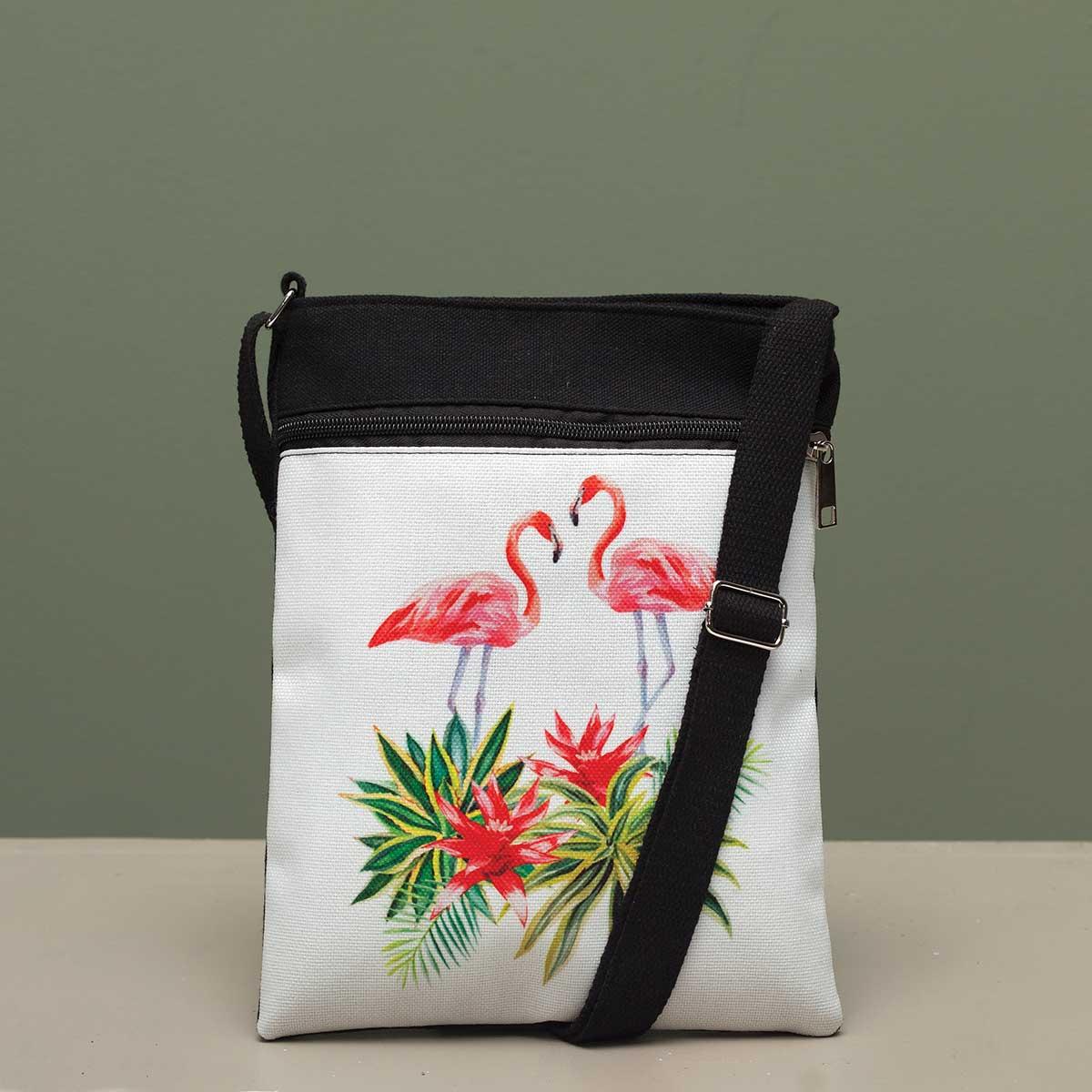 Flamingo Couple Crossbody Canvas Bag