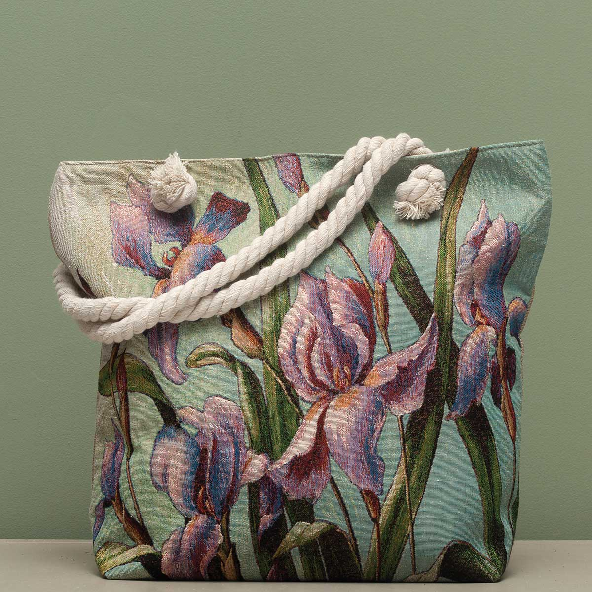 "Iris Tapestry Bag 17.5""x5""x14"" with 10"" Shoulder Strap, Lining a"
