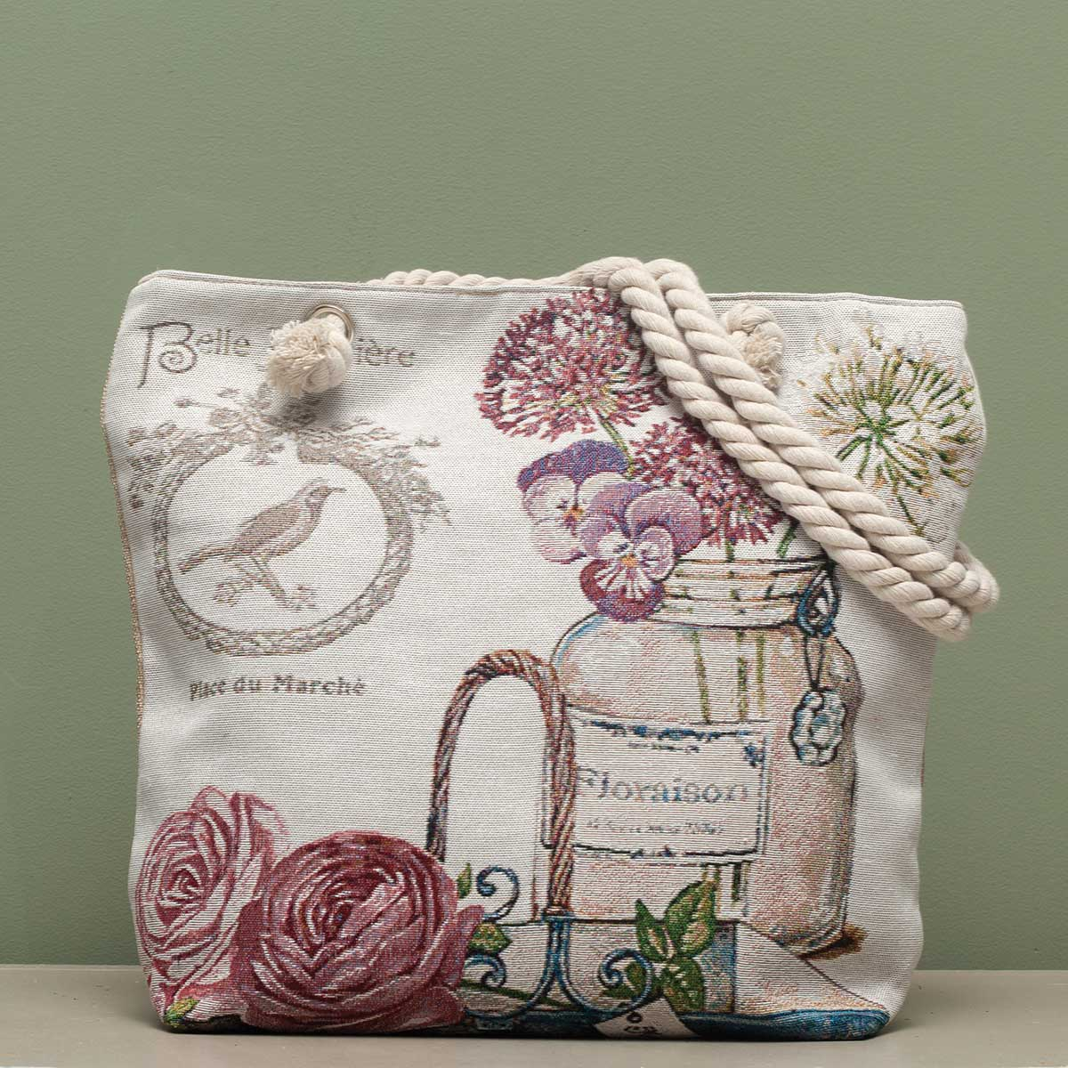 "French Garden Tapestry Bag 17.5""x5""x14"" with 10"" Shoulder Strap,"