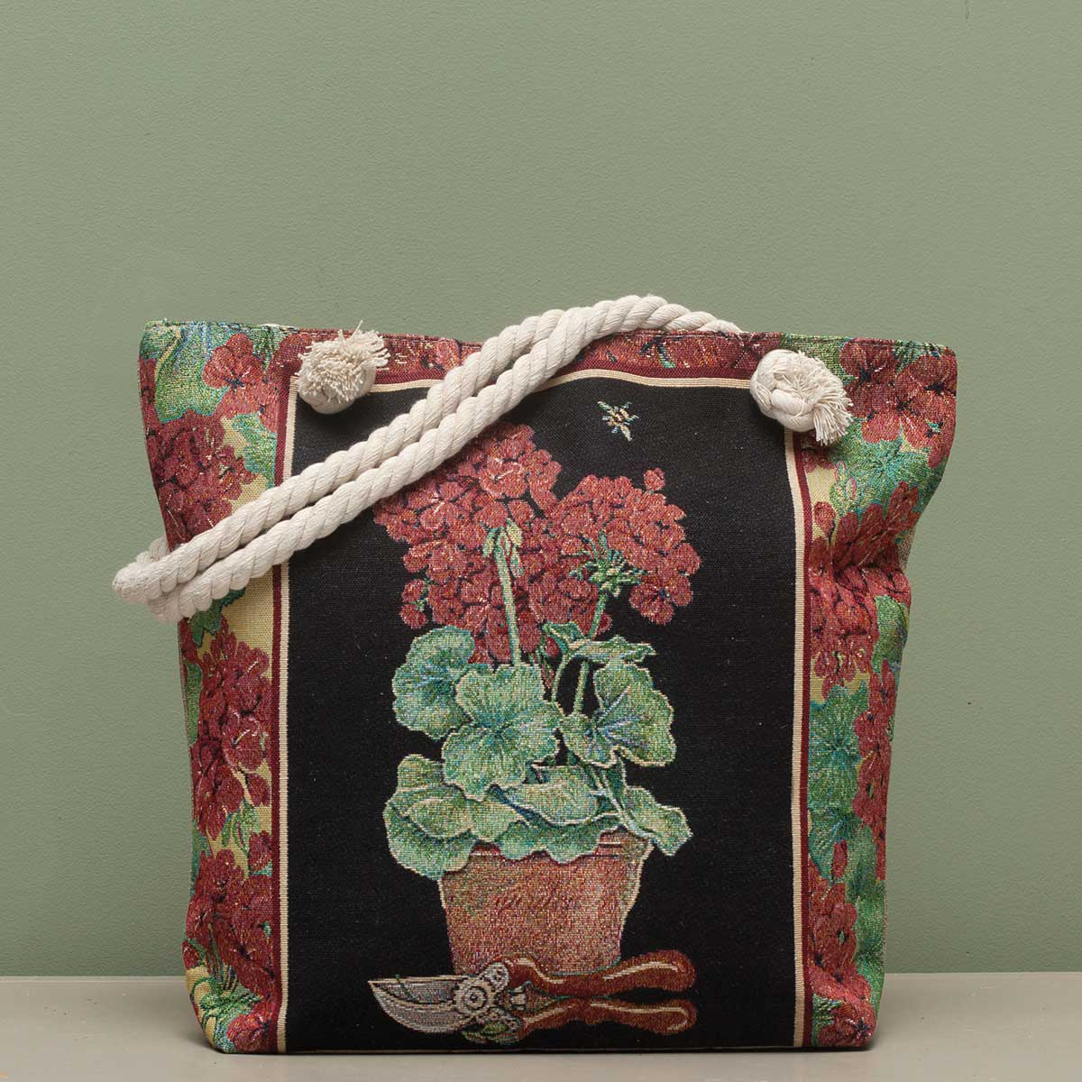 "Geranium Tapestry Bag 17.5""x5""x14"" with 10"" Shoulder Strap, Lini"
