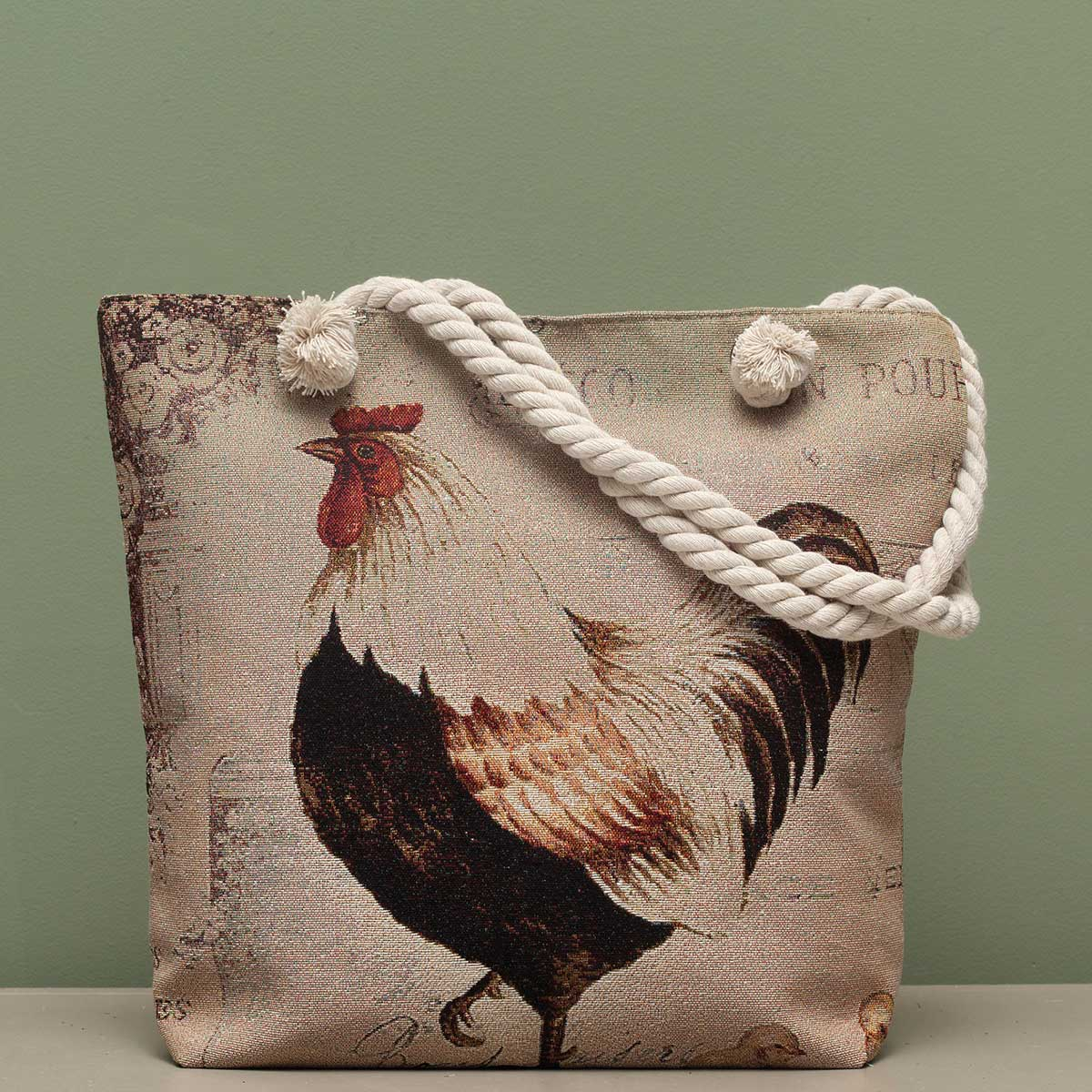 "French Hen Tapestry Bag 17.5""x5""x14"" with 10"" Shoulder Strap, Li"