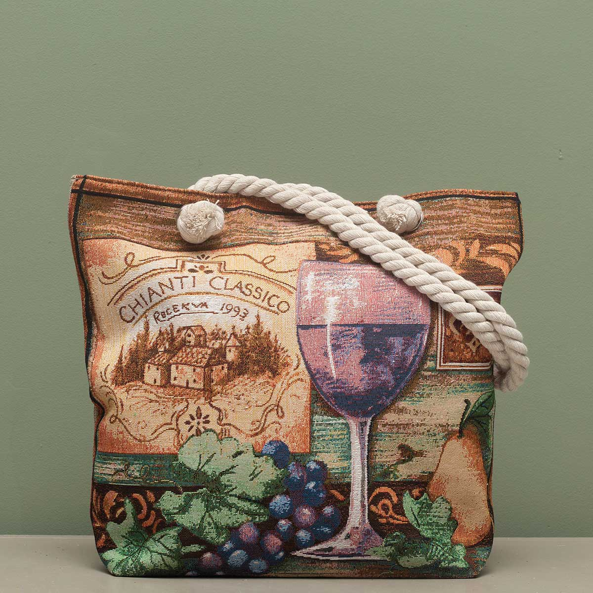 "Chianti Tapestry Bag 17.5""x5""x14"" with 10"" Shoulder Strap, Linin"