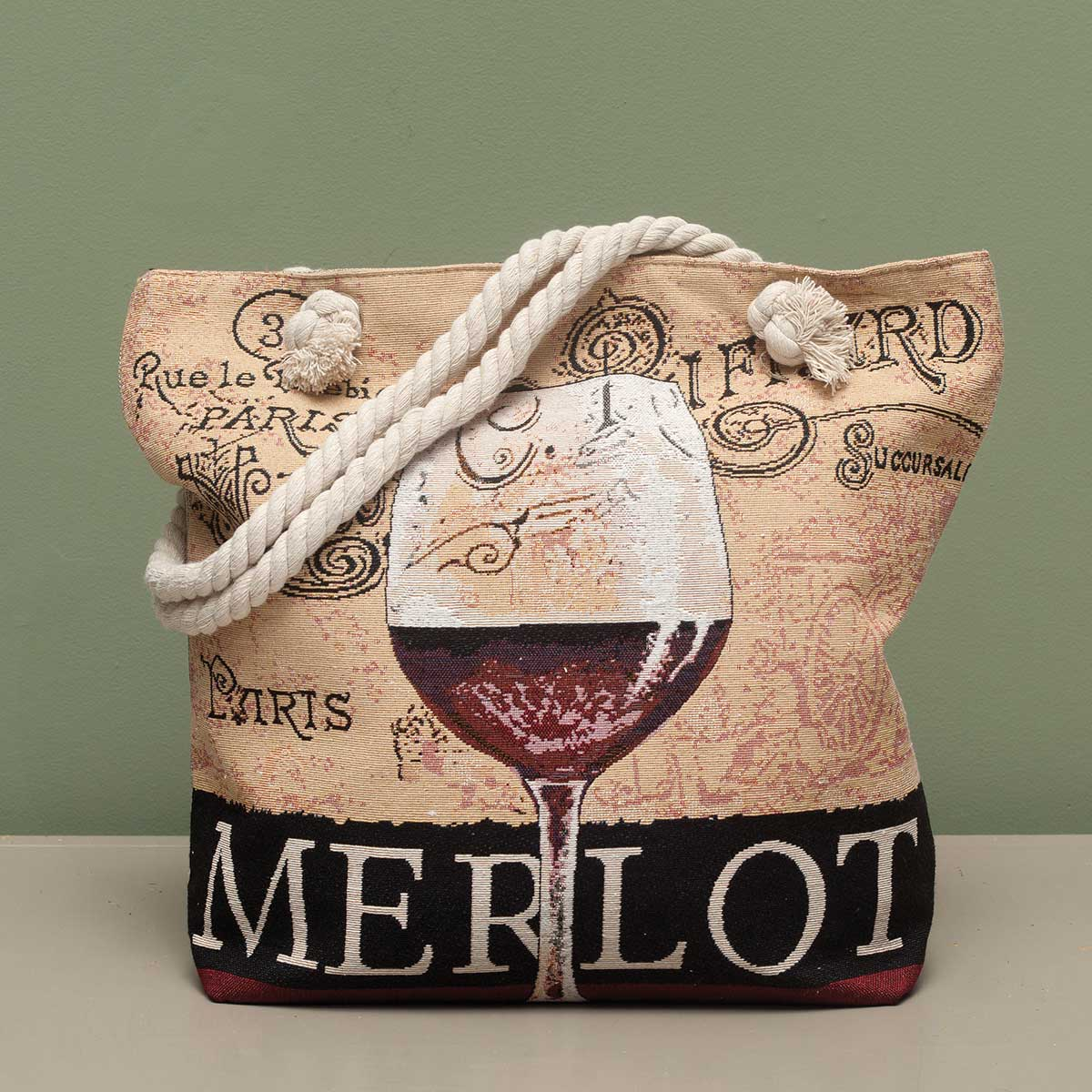 "Merlot Tapestry Bag 17.5""x5""x14"" with 10"" Shoulder Strap, Lining"