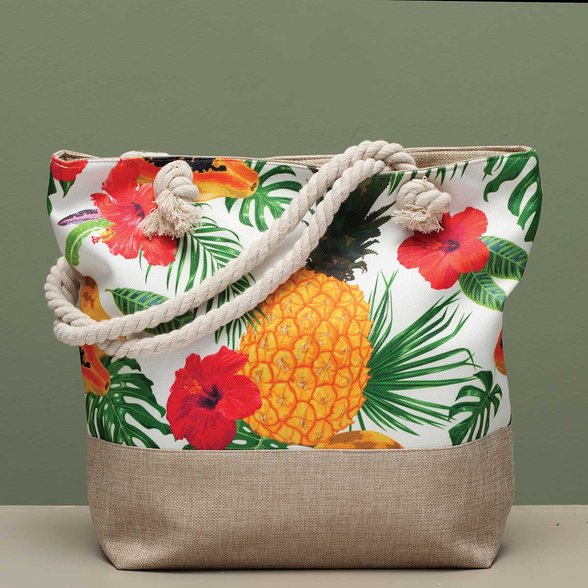 "Pineapple and Hibiscus Tapestry Bag 17.5""x5""x14"" with 10"" Should"