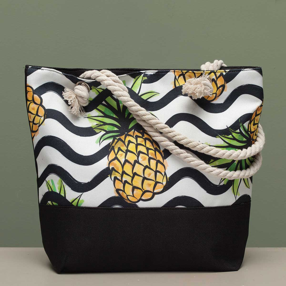 "Pineapple with Wavy Stripe Tapestry Bag 17.5""x5""x14"" with 10"" Sh"