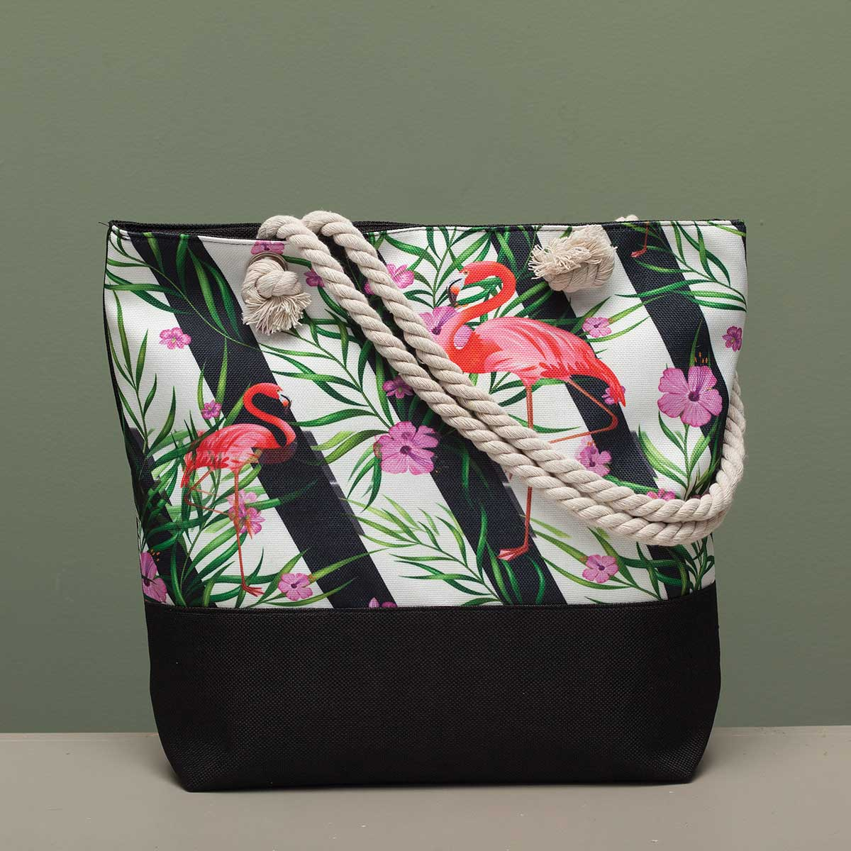 "Flamingo with Wavy Stripe Tapestry Bag 17.5""x5""x14"" with 10"" Sho"