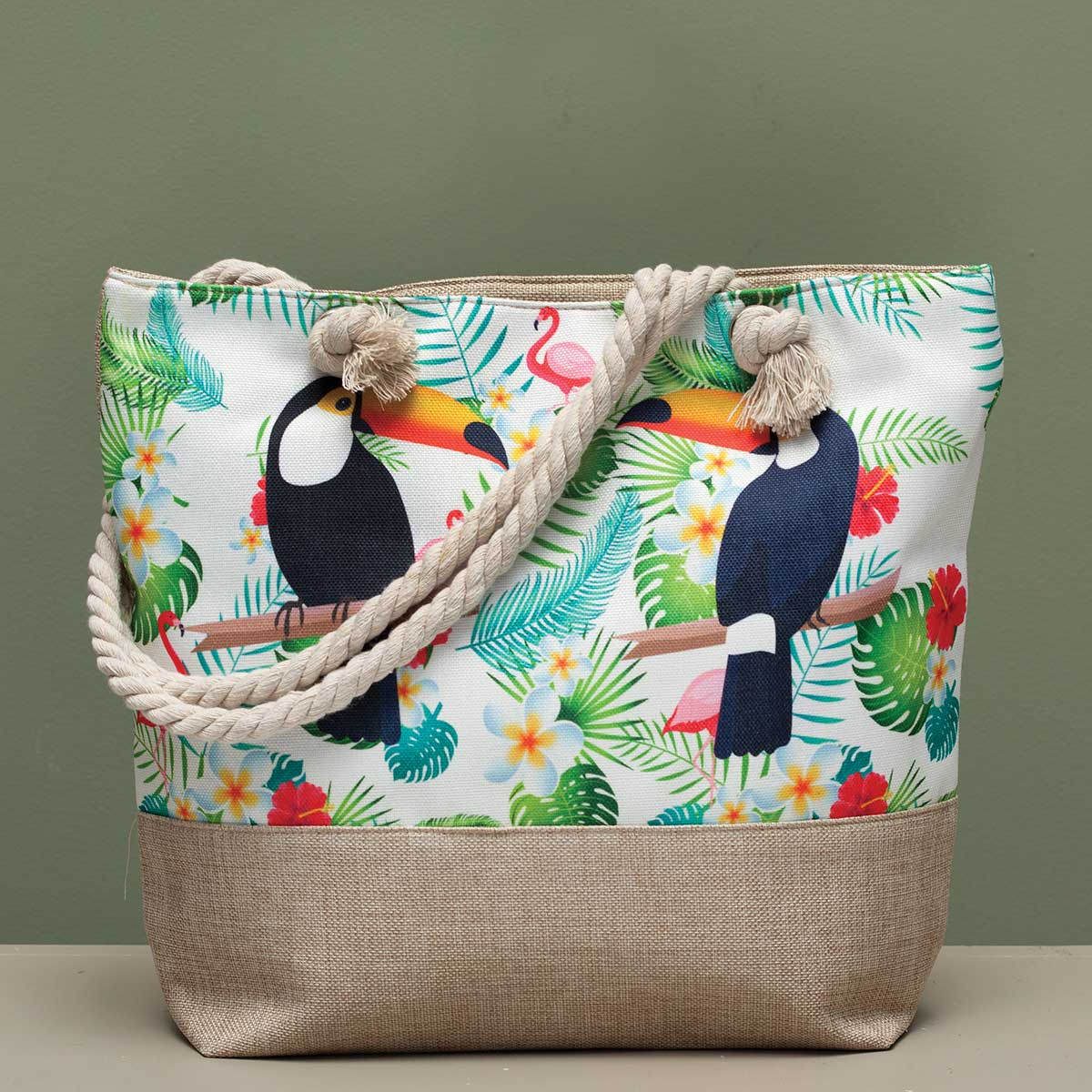 "Toucan Tapestry Bag 17.5""x5""x14"" with 10"" Shoulder Strap and Zip"