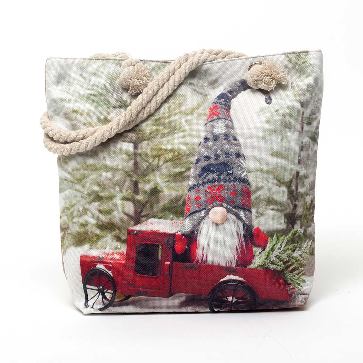 Gnome in Red Truck Christmas Bag