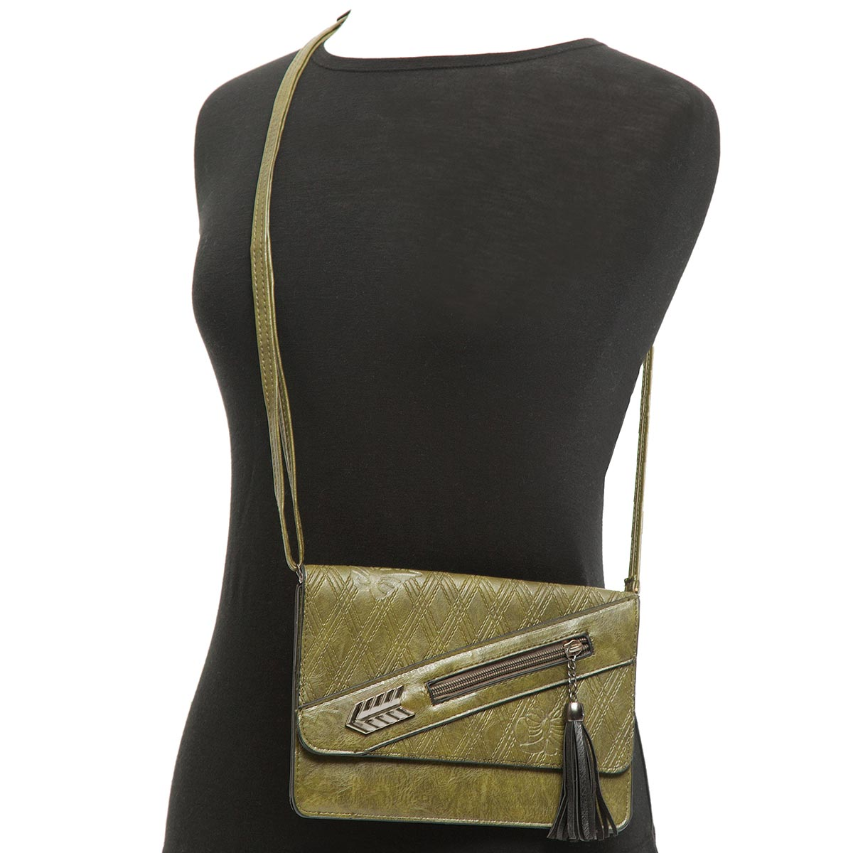 Cross-body Purse with Diamond Pattern and Tassel with Strap and