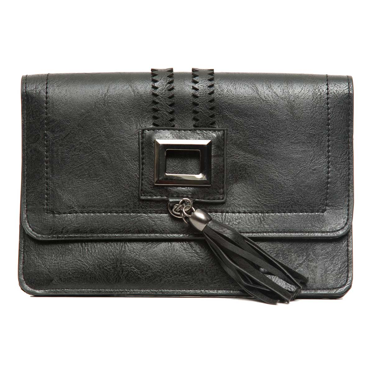Cross-body Purse with Square Metal Cutout and Tassel with Strap