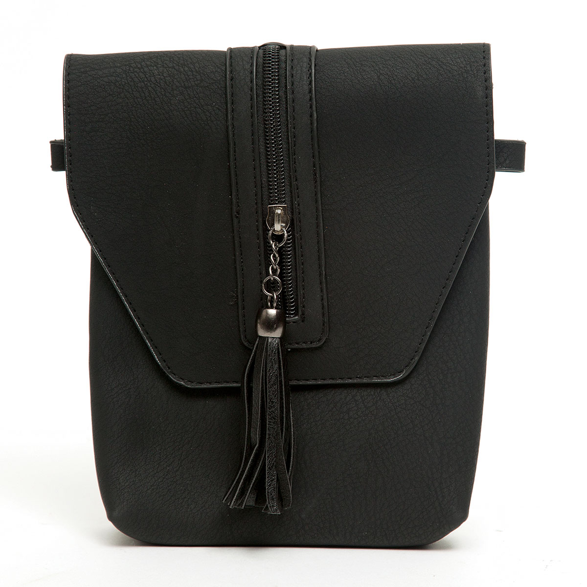 Cross-body Purse with Beaded Flap and Tassel with Strap and Snap