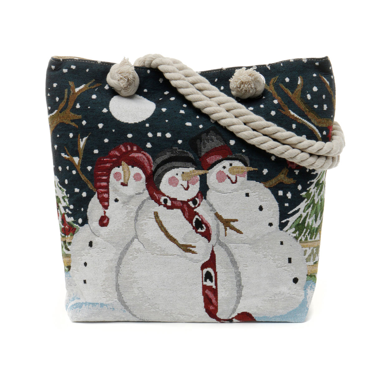 Snowmen Tapestry Bag with Adjustable Shoulder Strap, Lining and