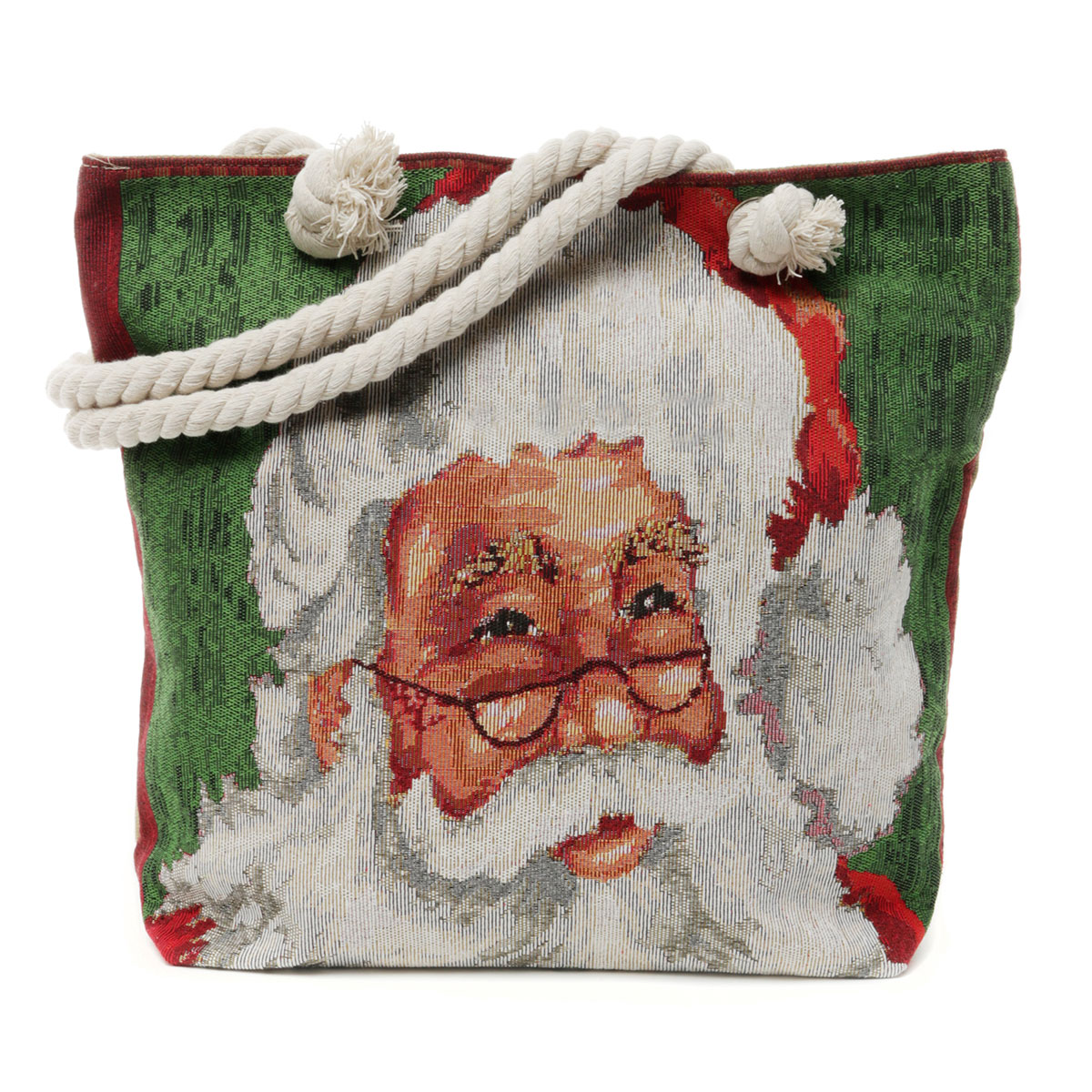 Santa Tapestry Bag with Shoulder Strap, Lining and Zipper Closur