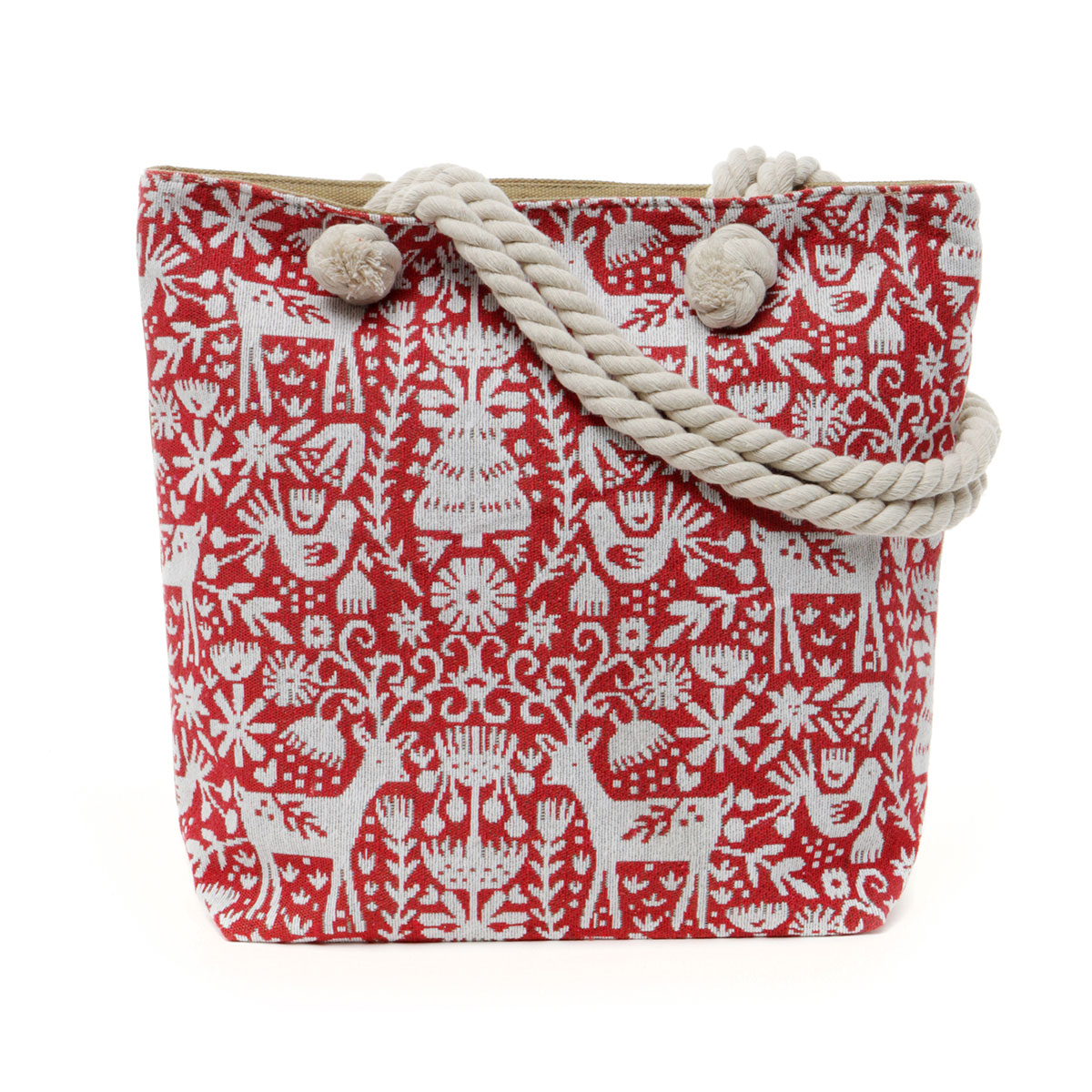 Christmas Pattern Tapestry Bag with Adjustable Shoulder Strap, L