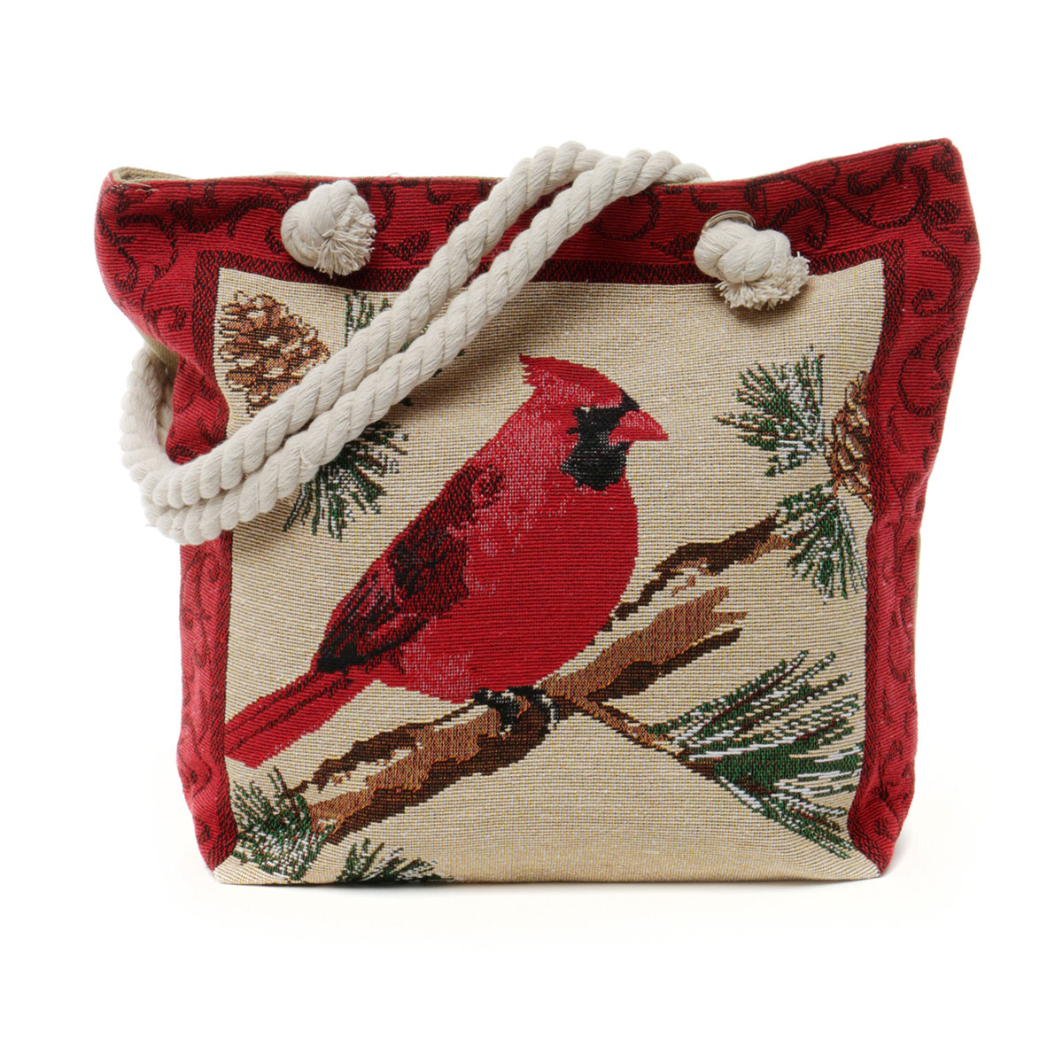 Cardinal Tapestry Bag with Adjustable Shoulder Strap, Lining and