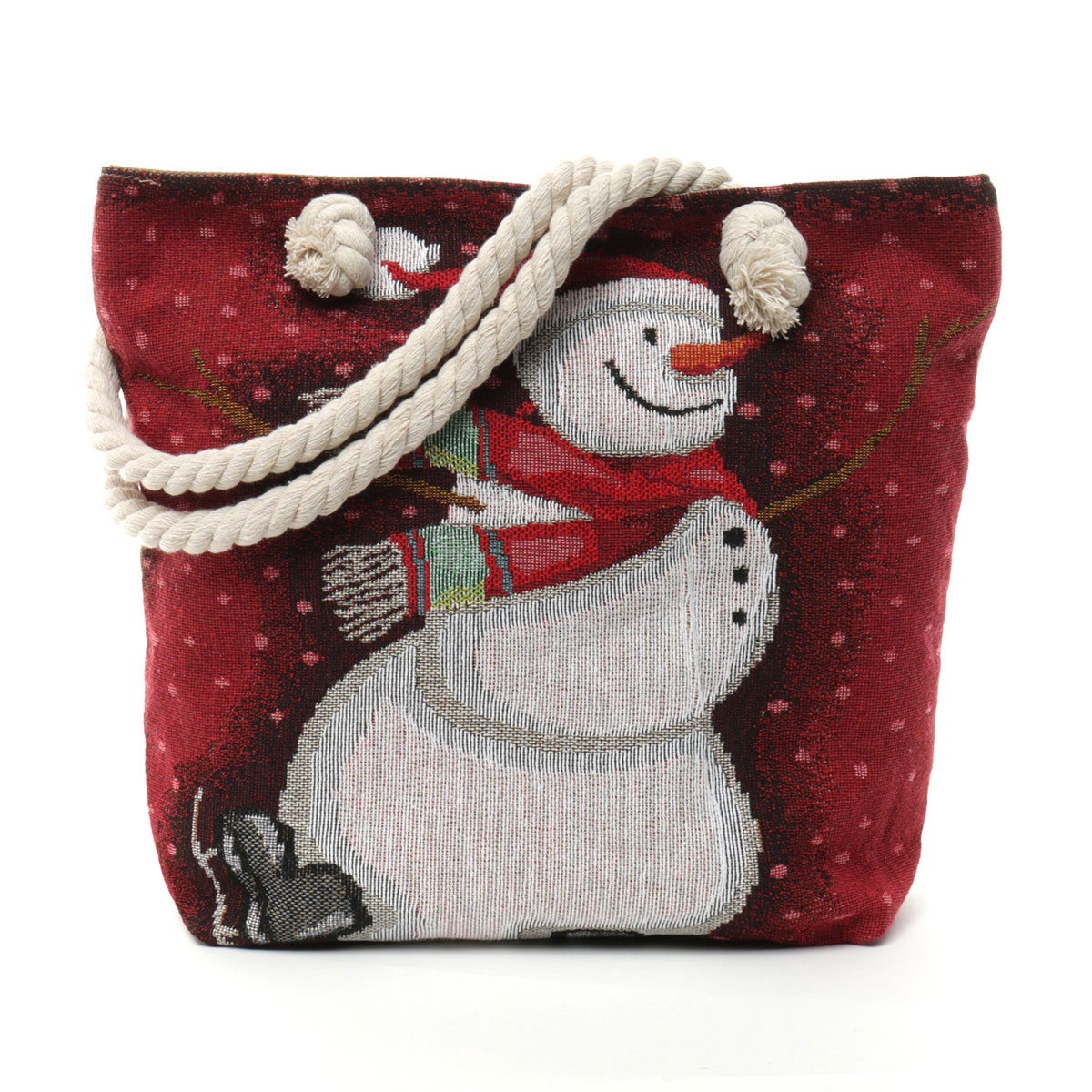 Skating Snowman Tapestry Bag with Adjustable Shoulder Strap, Lin
