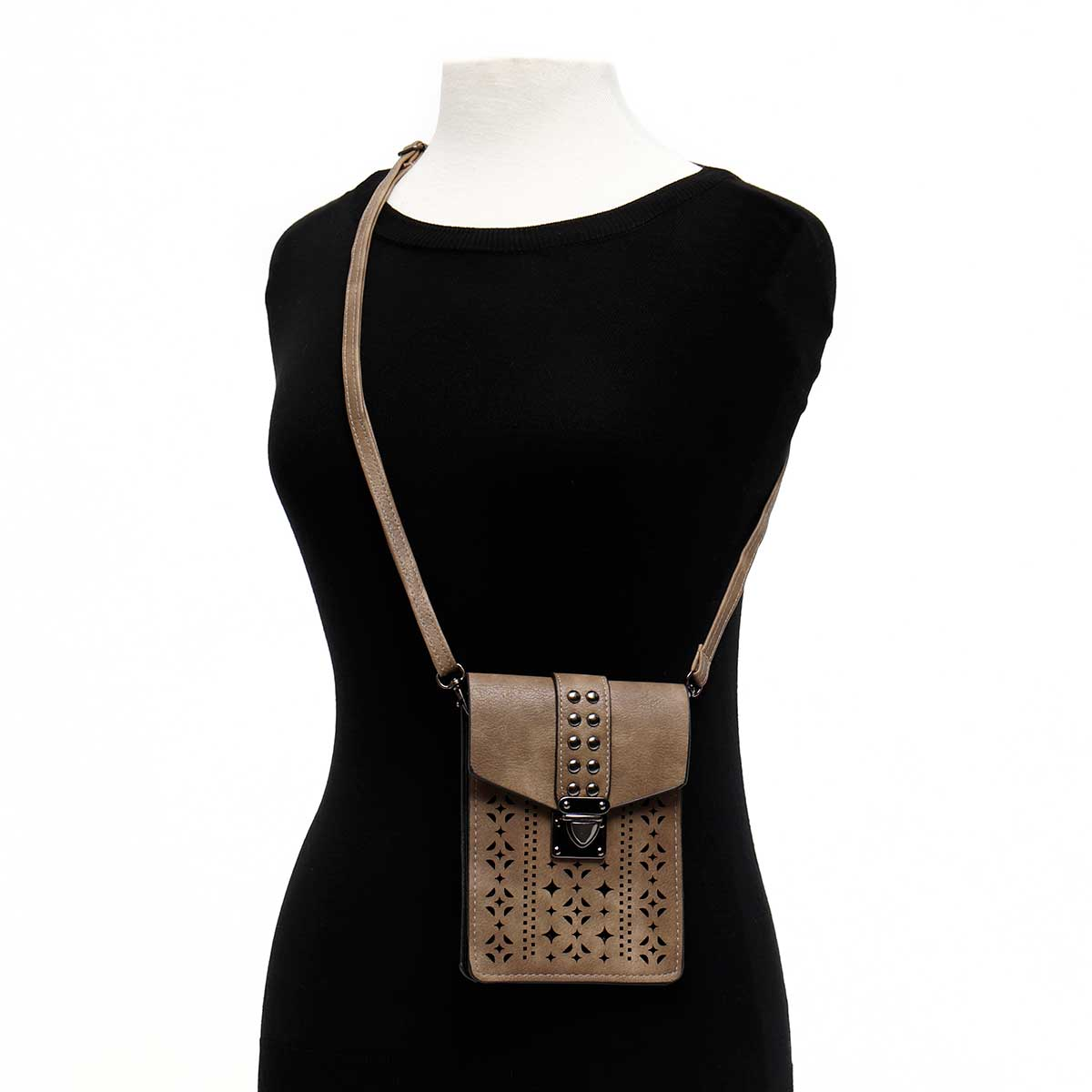 Cross-body Purse with Beaded Flap with Shoulder Strap and Catch