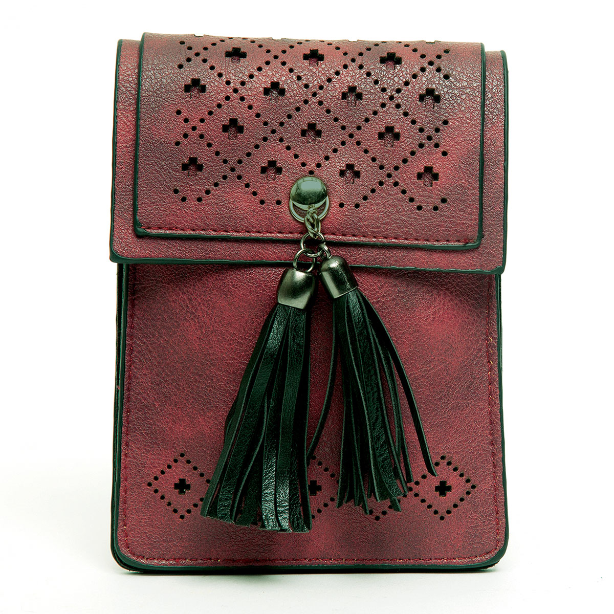 Cross-body Purse with Punch Dot Flap and Tassels with Shoulder S
