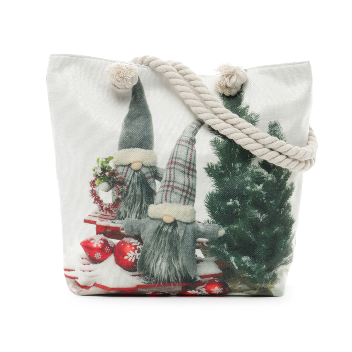 Gnomes and Trees on Sleds Tapestry Bag with Adjustable Shoulder