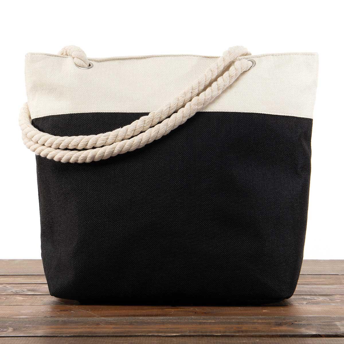 "Black Canvas Summer Bag 17.5""x5""x14"" with 10"" Rope Shoulder Stra"