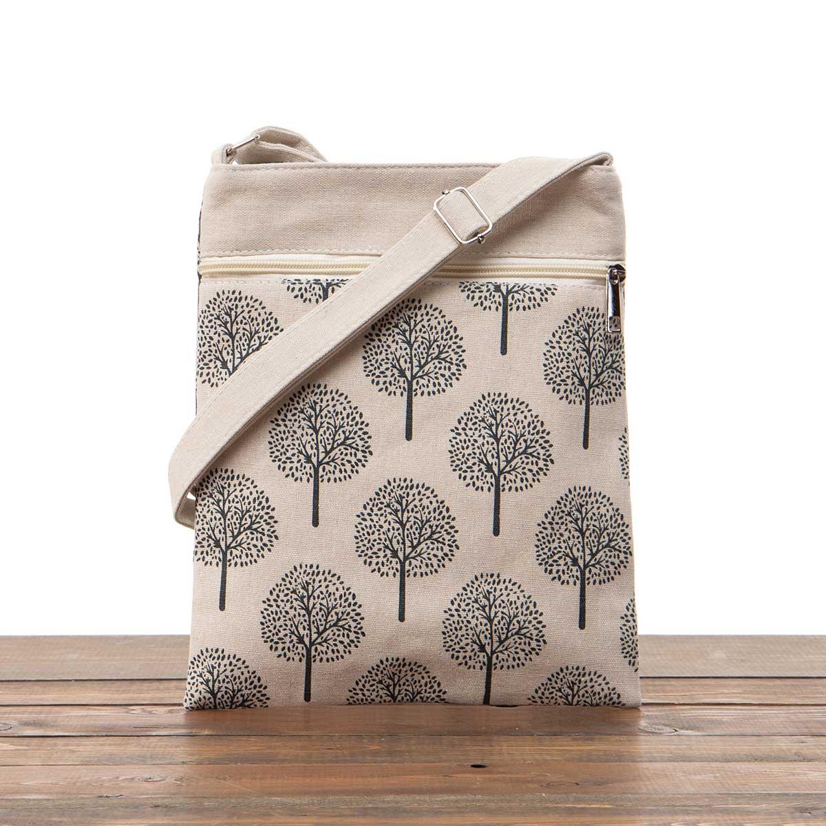 "Beige ""Trees"" Canvas Cross-body Bag 9""x11""x2"""