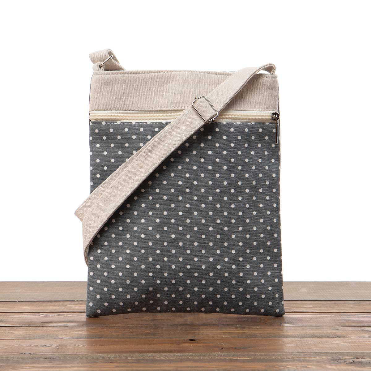 "Grey Polka Dot Canvas Cross-body Bag 9""x11""x2"""