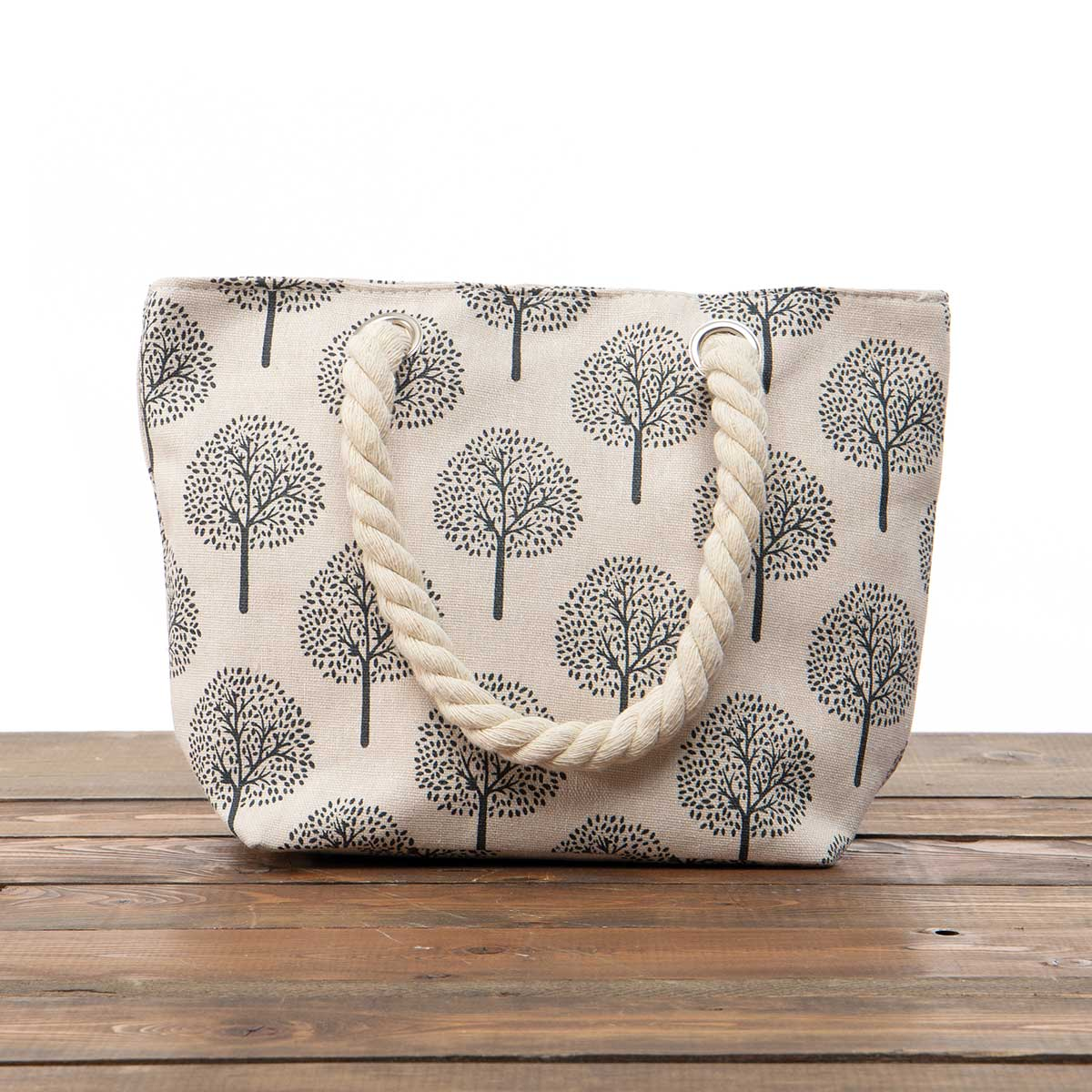 """Beige """"Trees"""" Small Canvas Bag 11.5""""x8""""x3.5"""" with 5.5"""" Rope Shou"""