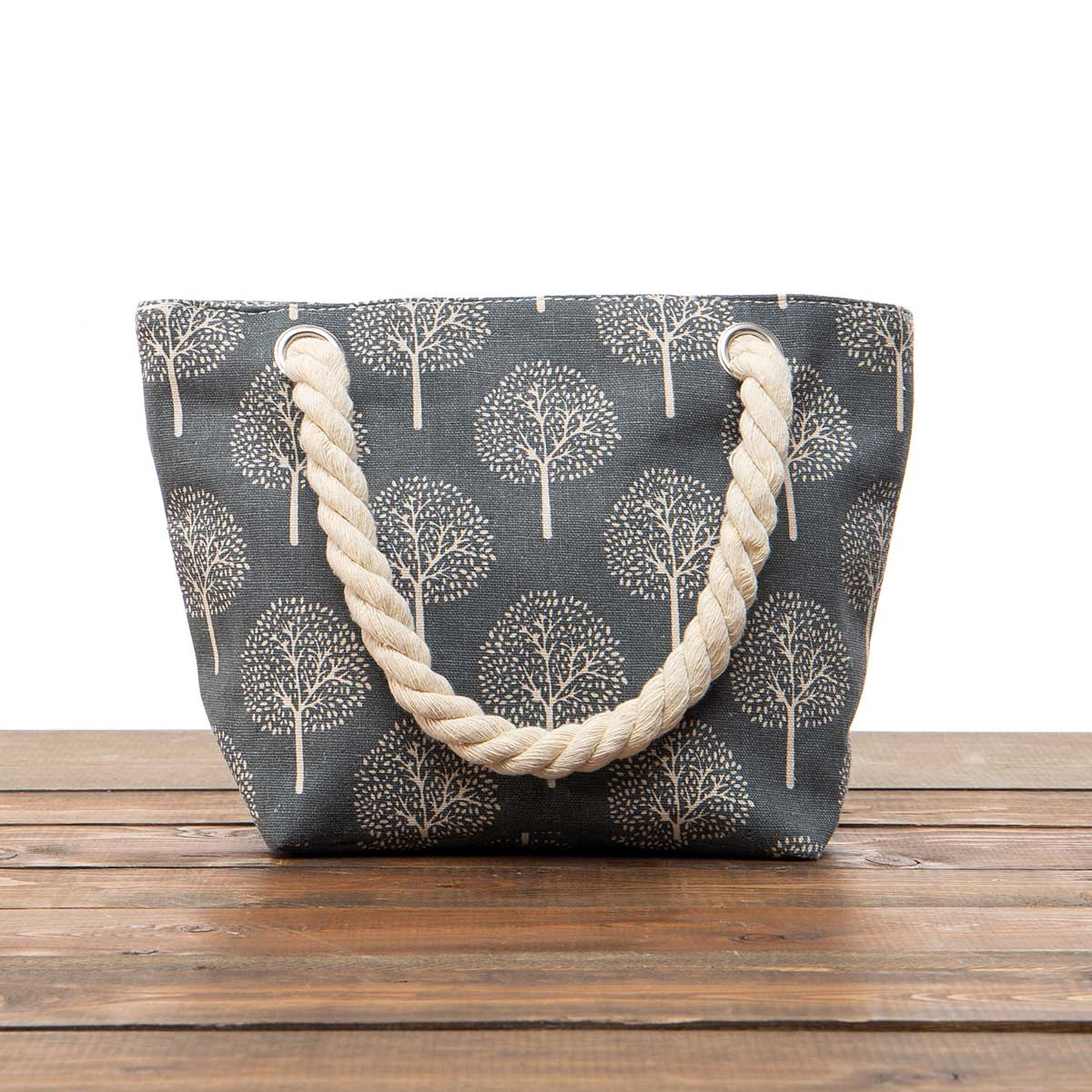 """Dark Grey """"Trees"""" Small Canvas Bag 11.5""""x8""""x3.5"""" with 5.5"""" Rope"""