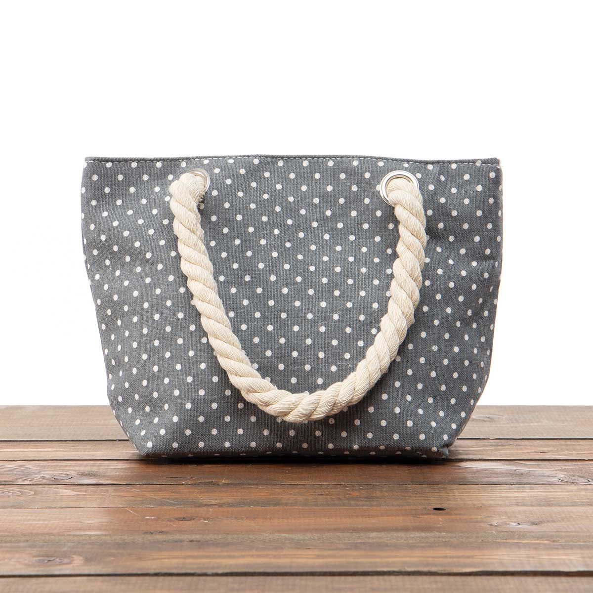 """Grey Polka Dot Small Canvas Bag 11.5""""x8""""x3.5"""" with 5.5"""" Rope Sho"""
