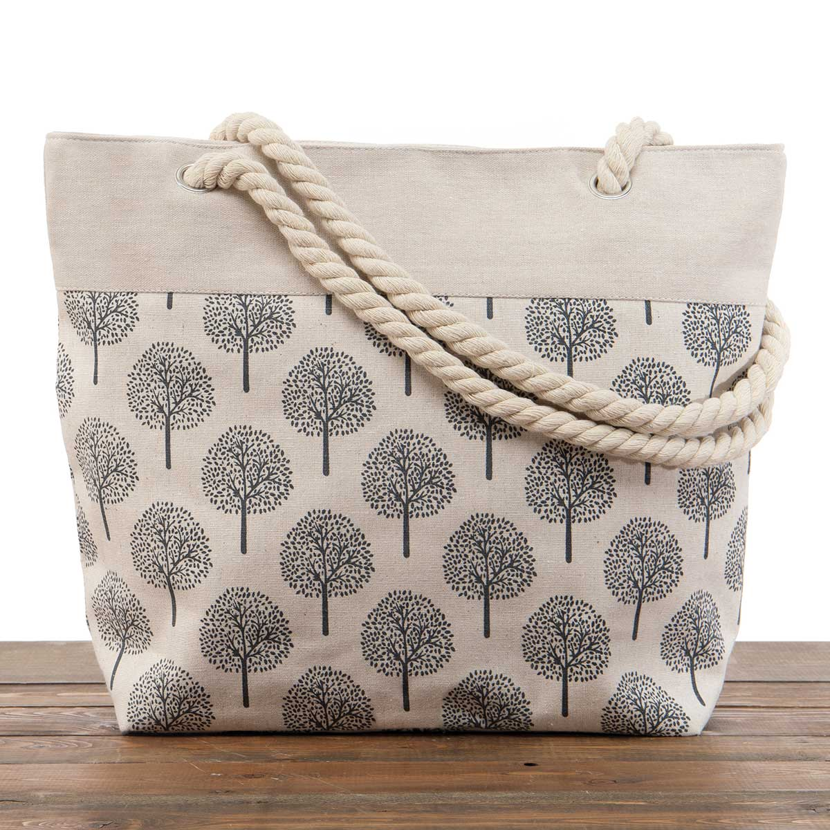 """Beige """"Trees"""" Large Canvas Bag 17.5""""x5""""x14"""" with 10"""" Rope Should"""
