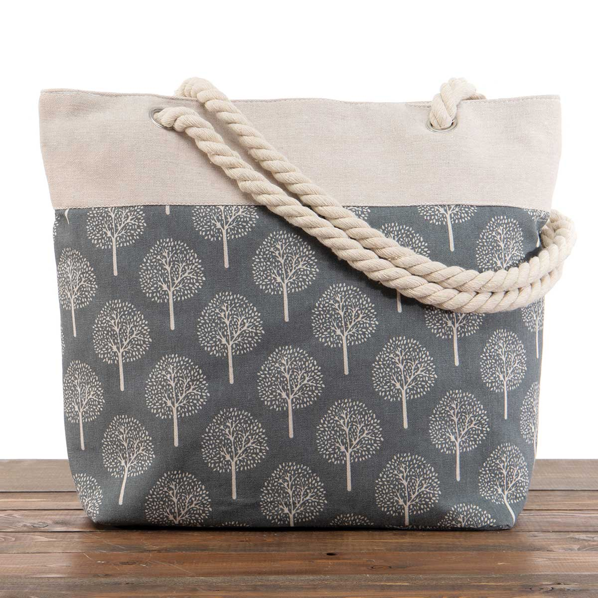 """Dark Grey """"Trees"""" Large Canvas Bag 17.5""""x5""""x14"""" with 10"""" Rope Ha"""