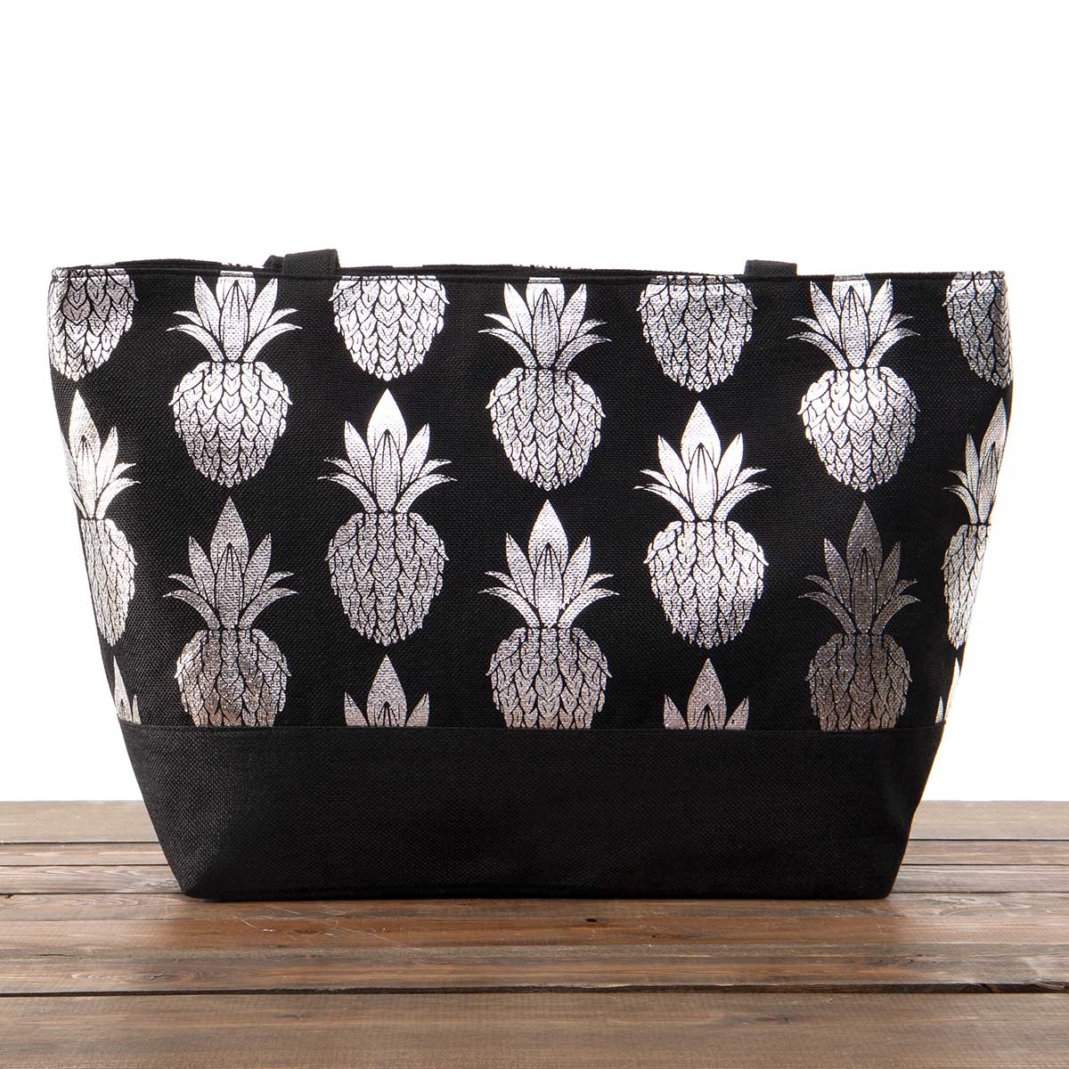"""Black Canvas Summer Bag with Silver Pineapples 21""""x13""""x6"""" with 1"""