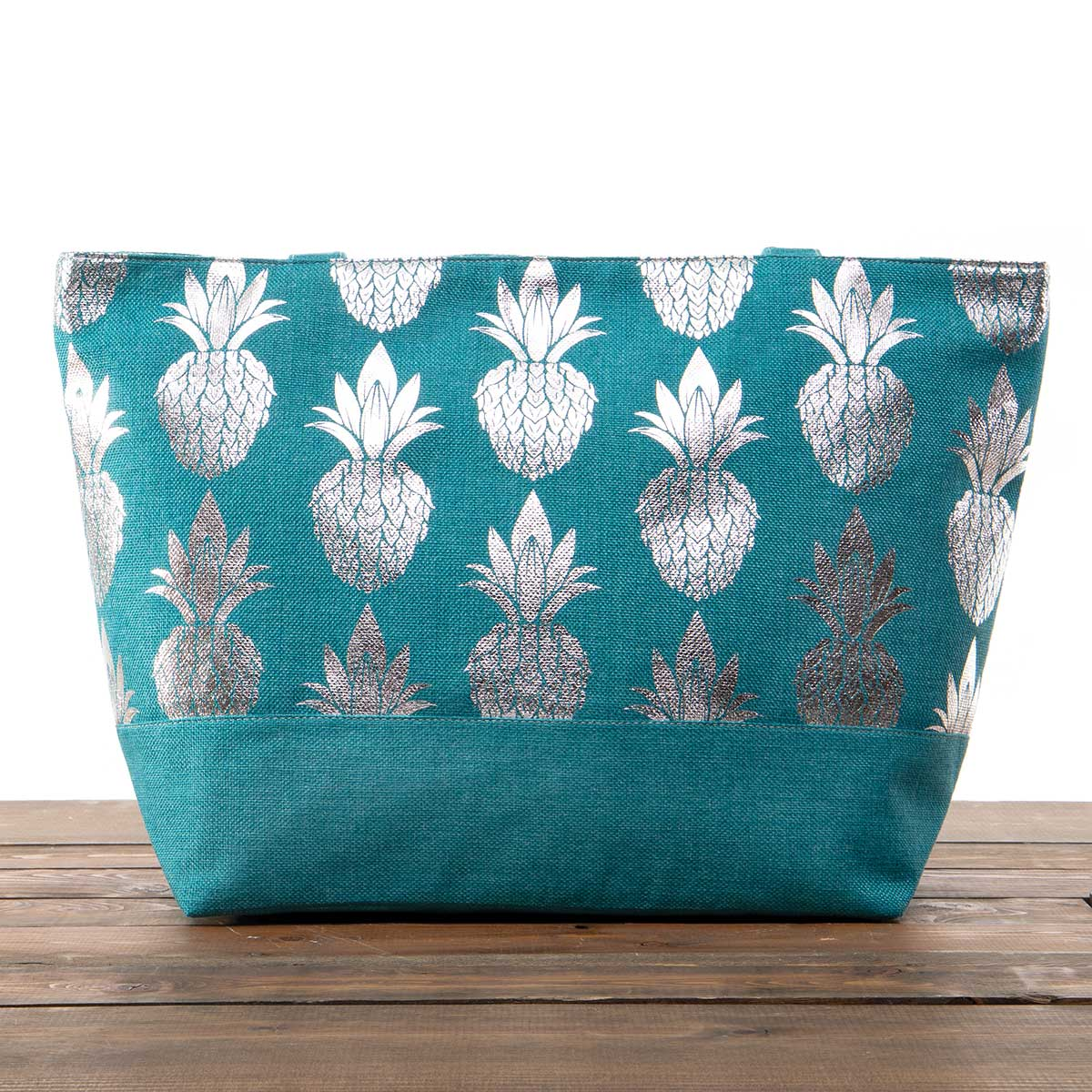 """Teal Canvas Summer Bag with Silver Pineapples 21""""x13""""x6"""" with 10"""