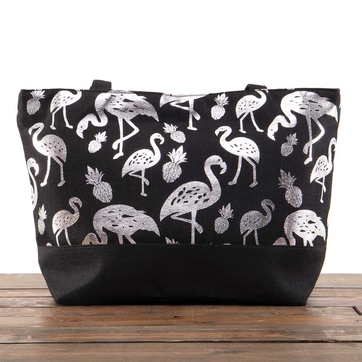 """Black Canvas Summer Bag with Silver Flamingos 21""""x13""""x6"""" with 10"""