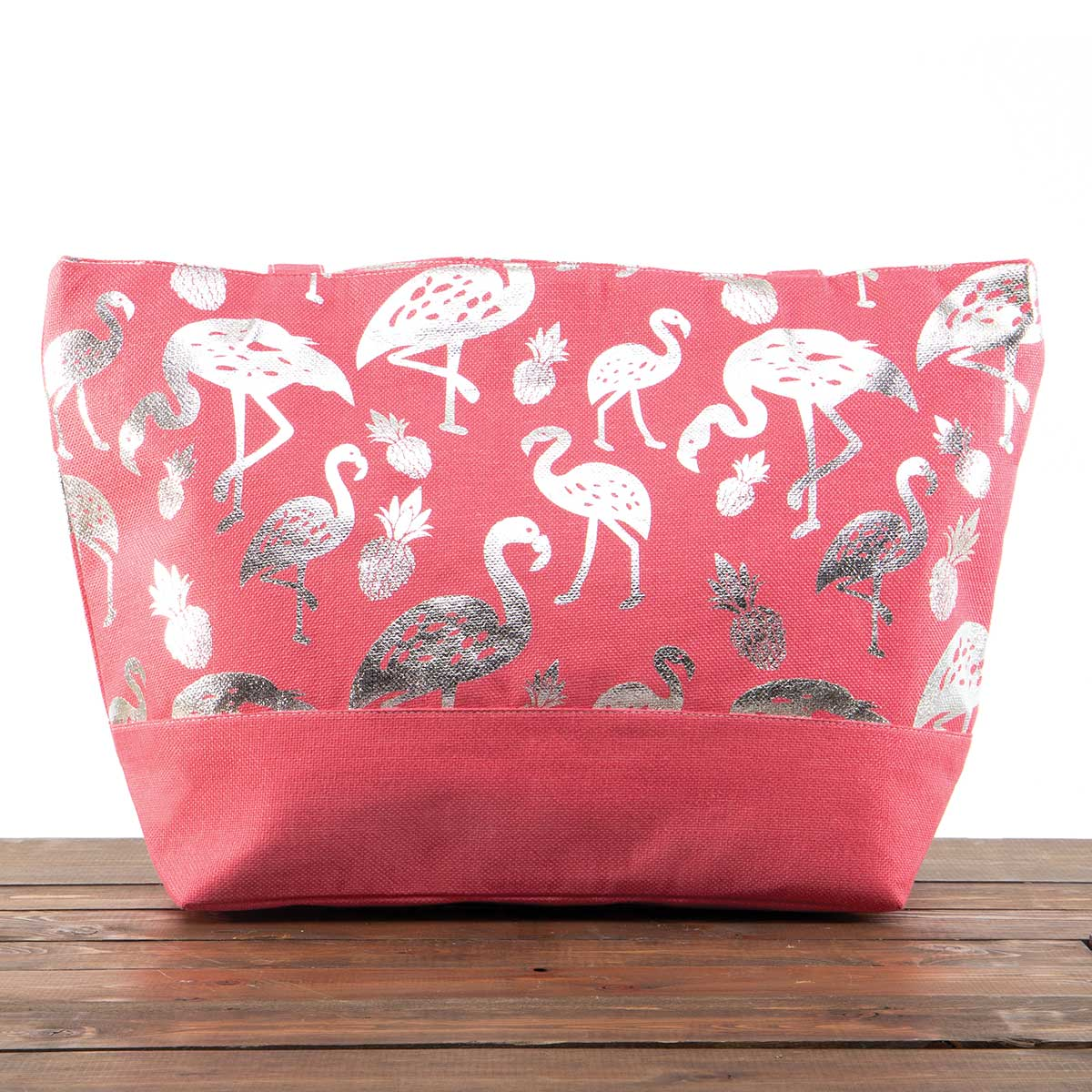 """Coral Canvas Summer Bag with Silver Flamingos 21""""x13""""x6"""" with 10"""