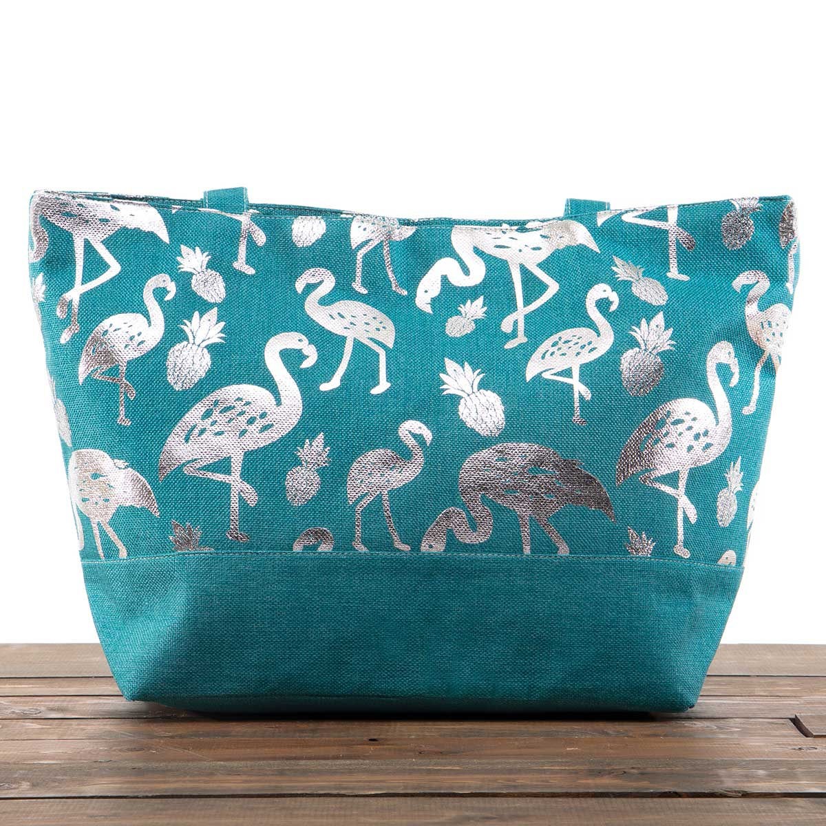 """Teal Canvas Summer Bag with Silver Flamingos 21""""x13""""x6"""" with 10"""""""
