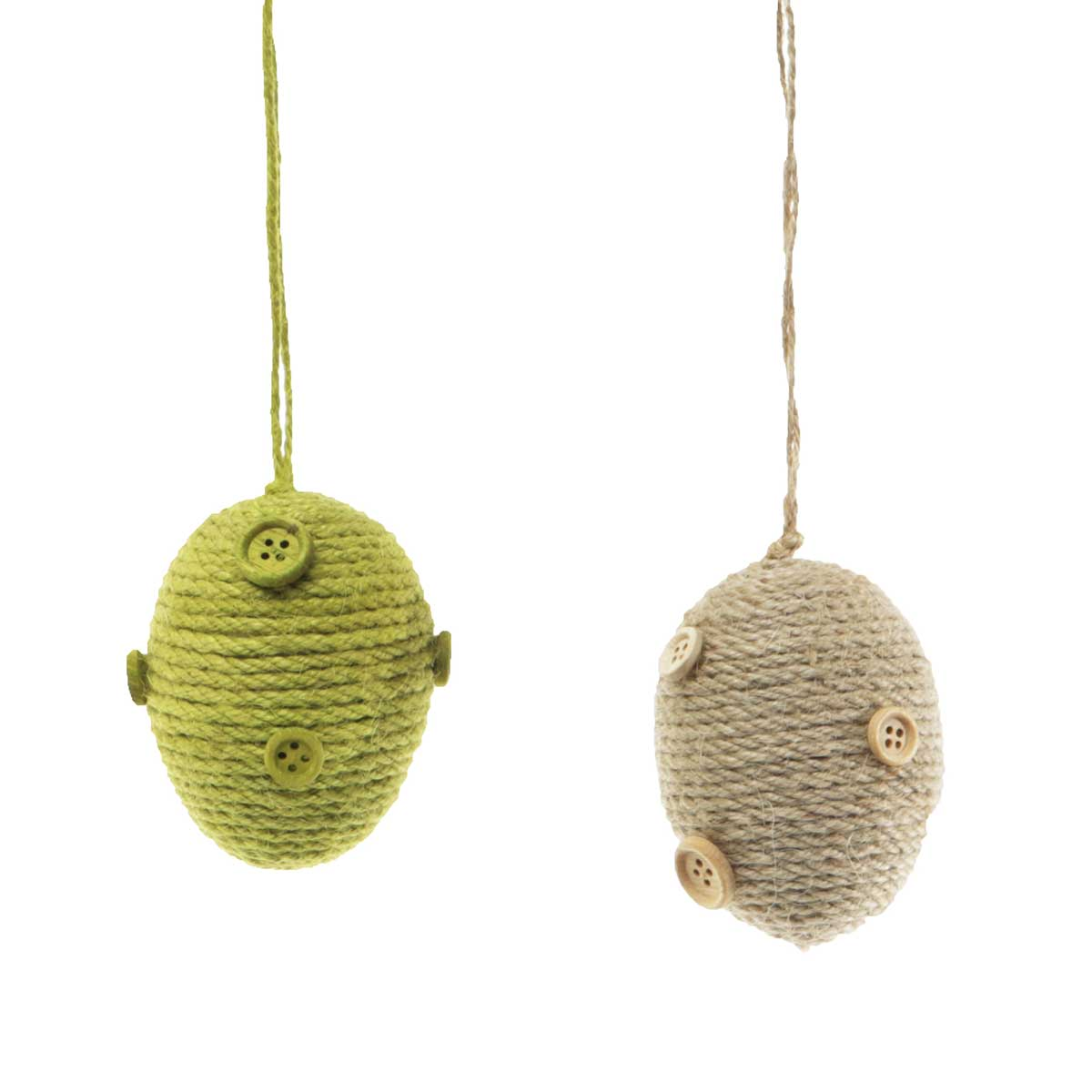 "M8613 STRING EGG WITH BUTTONS 2 ASSORTED NATURAL/GREEN 3"" 70sp"