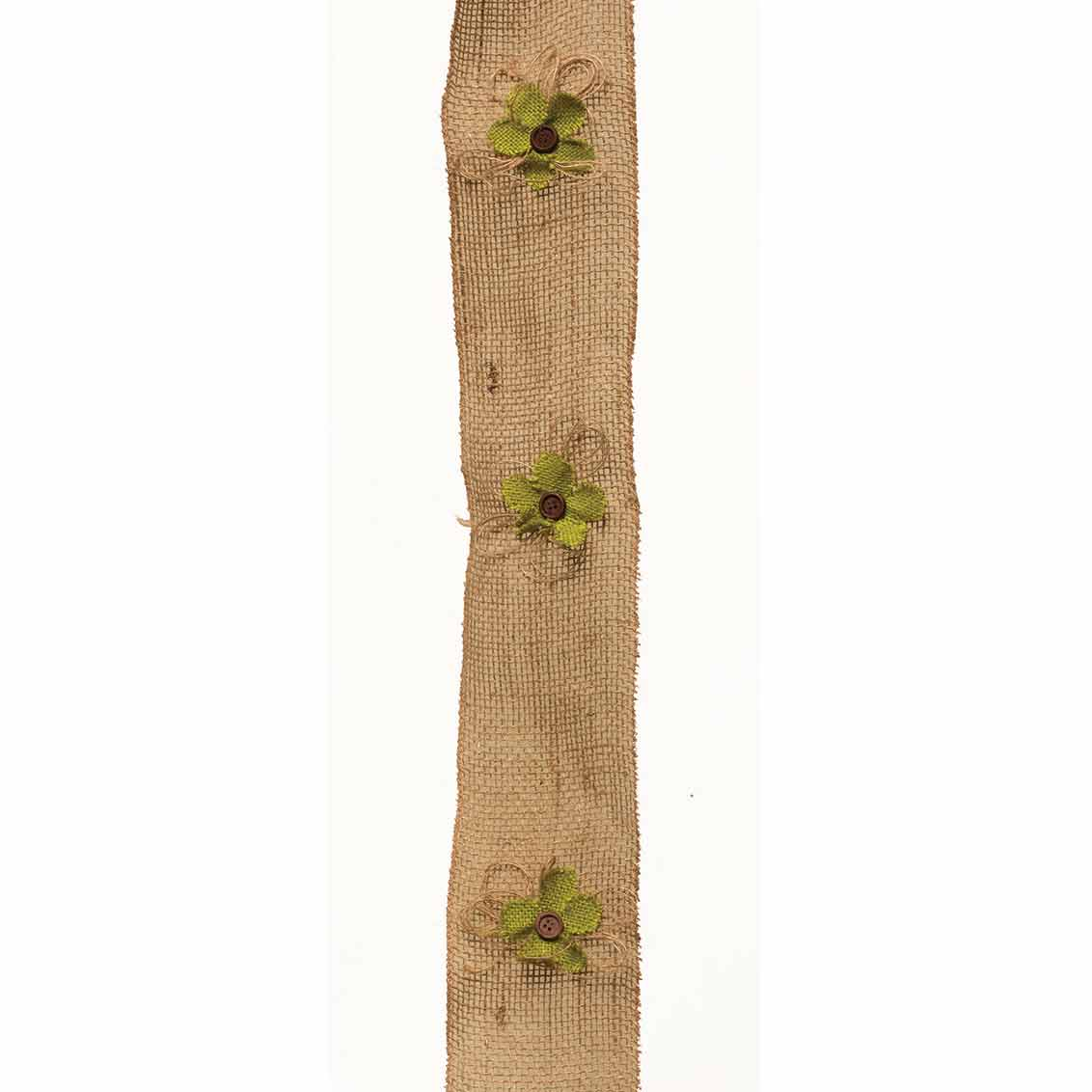 "M8614 BURLAP FLORAL GARLAND WITH BUTTONS 6' X 4"" 50b"