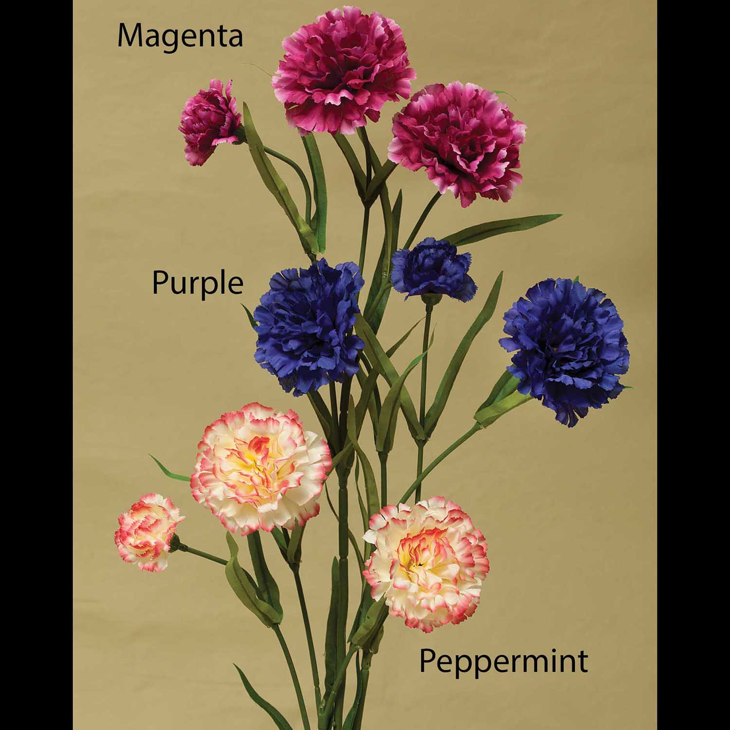 "FRENCH CARNATION SPRAY X3 25"" PEPPERMINT M8961 PP *22v"